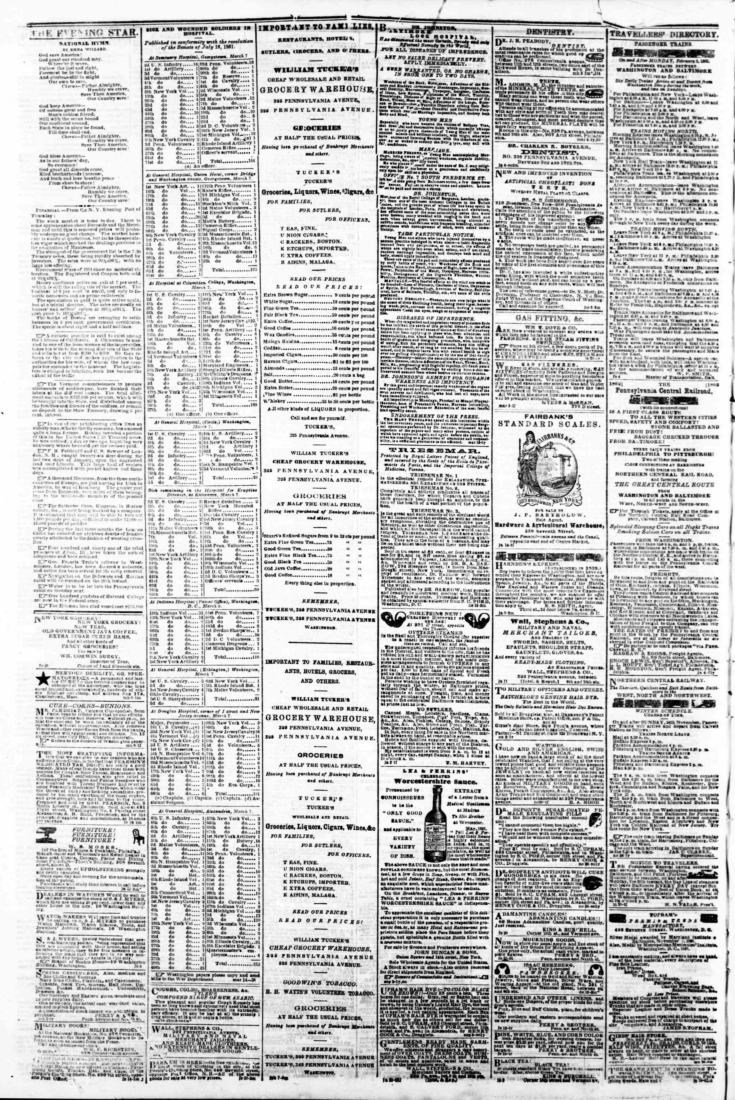 Newspaper of Evening Star dated March 15, 1862 Page 4