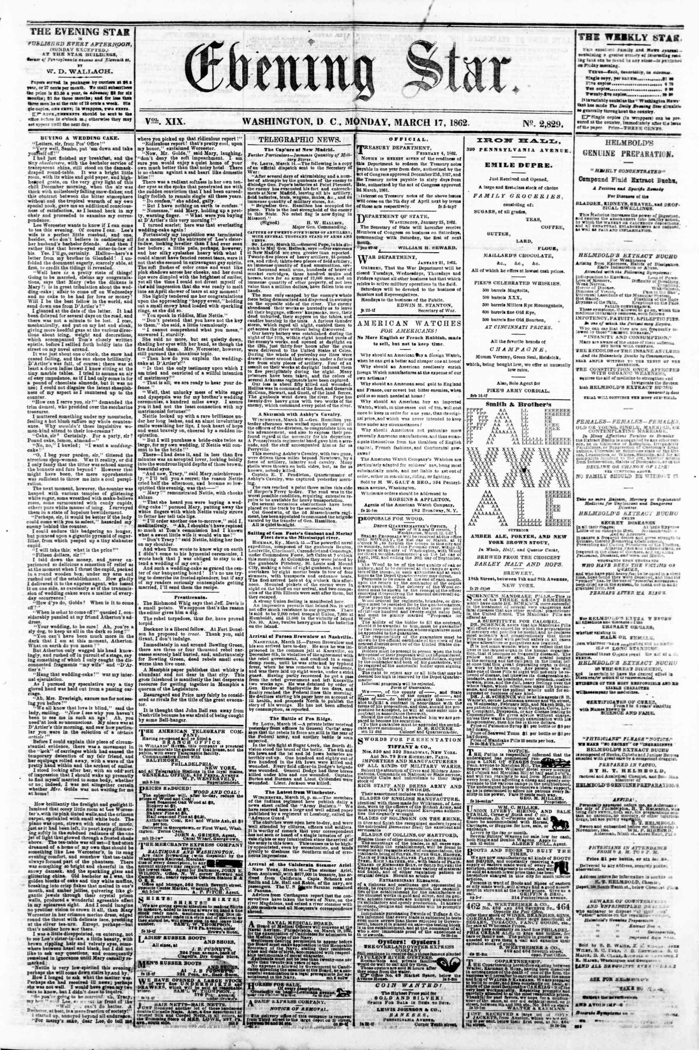 Newspaper of Evening Star dated March 17, 1862 Page 1
