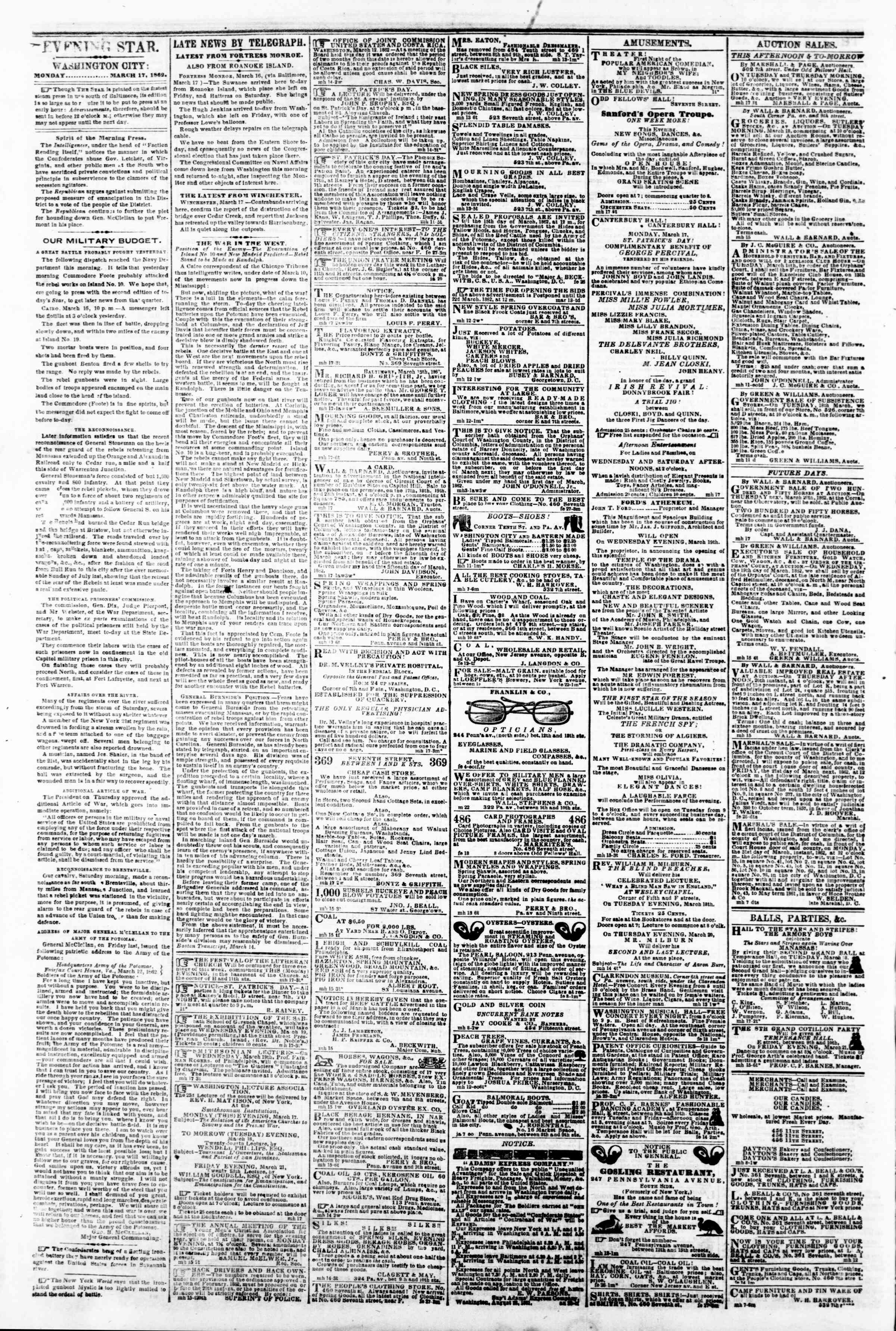 Newspaper of Evening Star dated March 17, 1862 Page 2