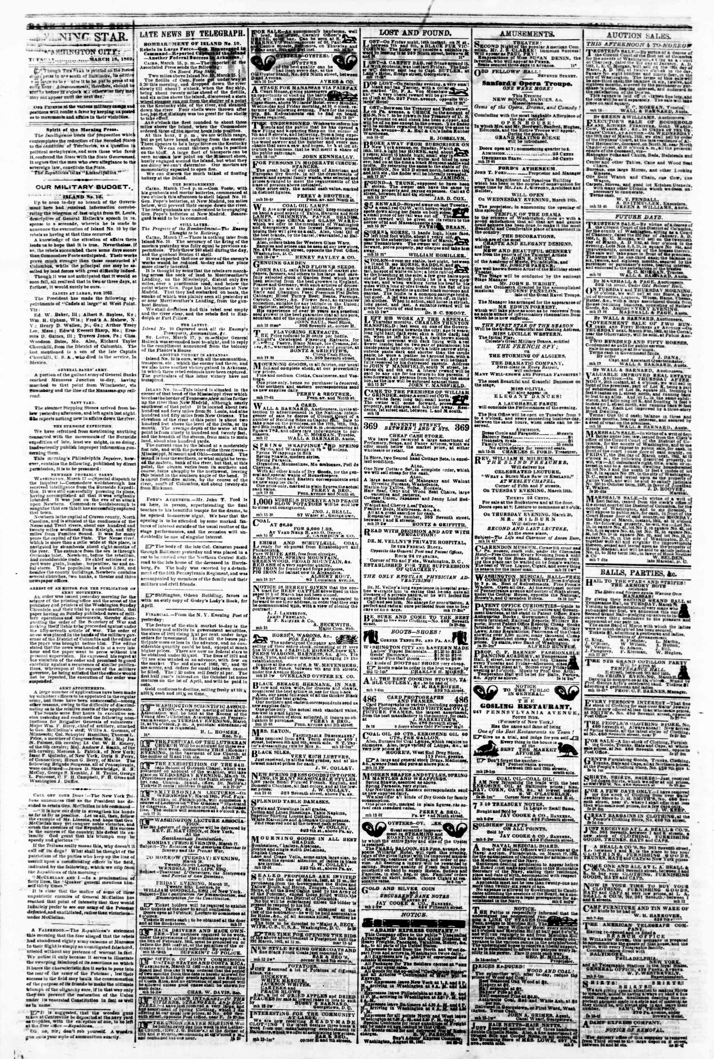 Newspaper of Evening Star dated March 18, 1862 Page 2