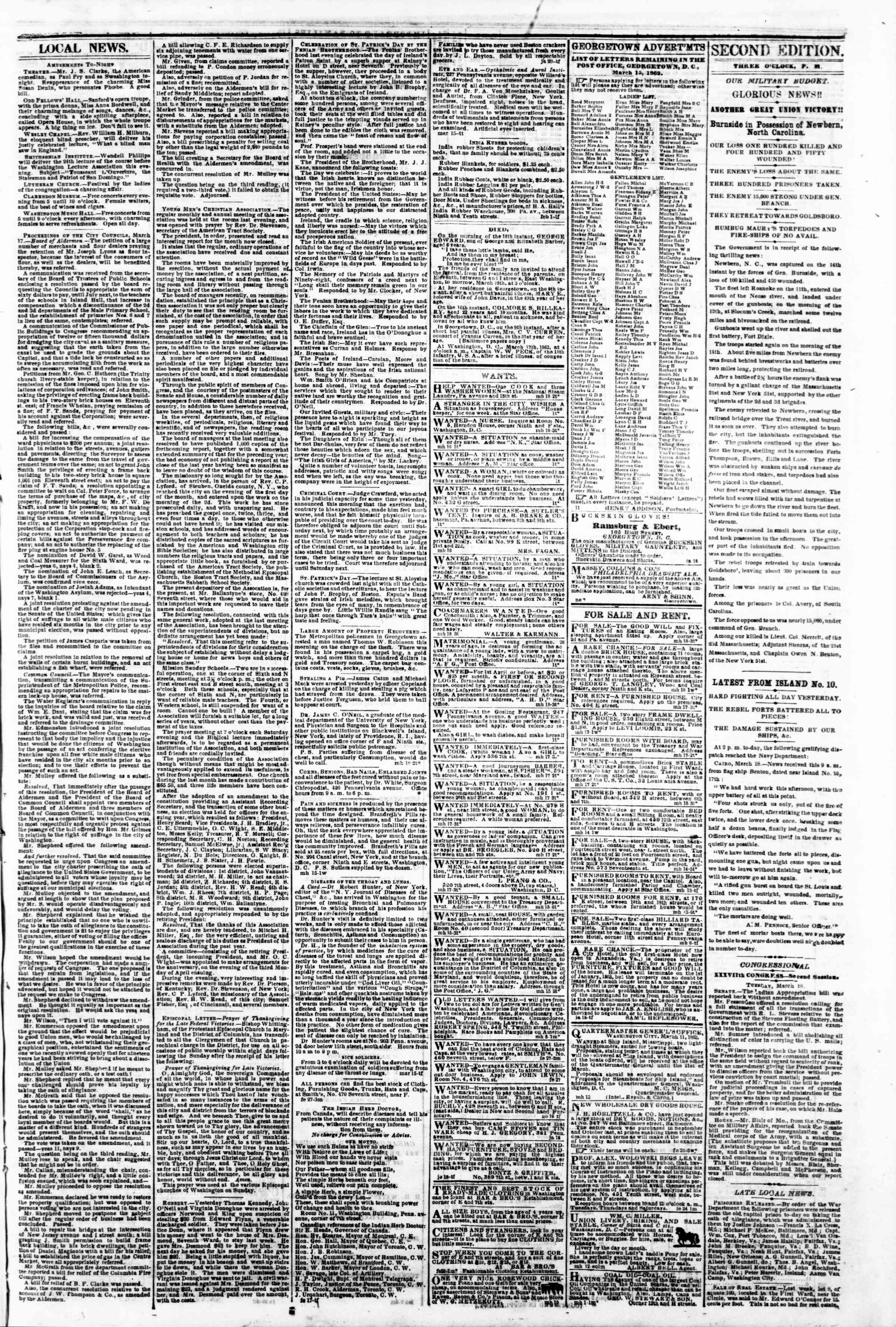 Newspaper of Evening Star dated March 18, 1862 Page 3