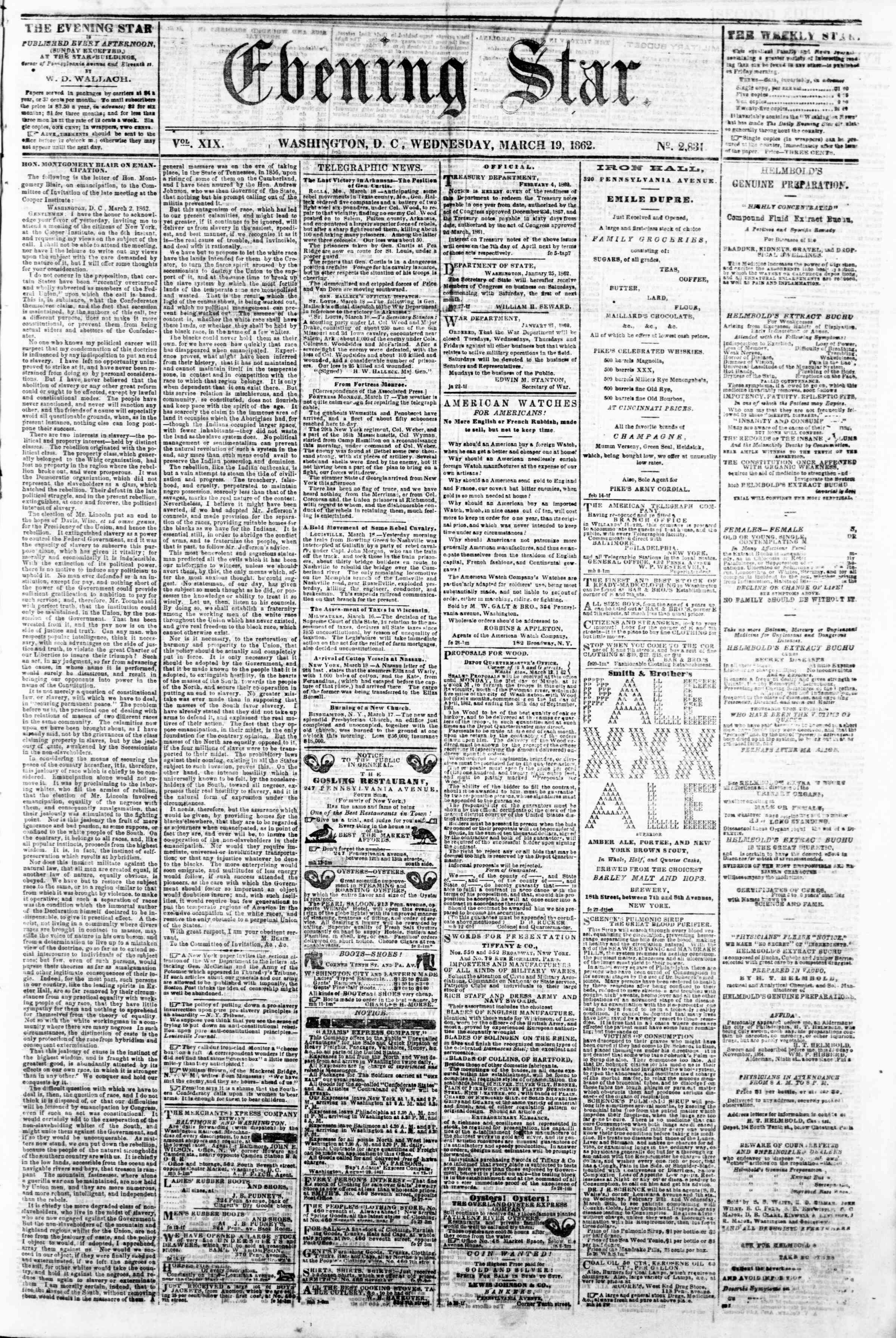 Newspaper of Evening Star dated March 19, 1862 Page 1