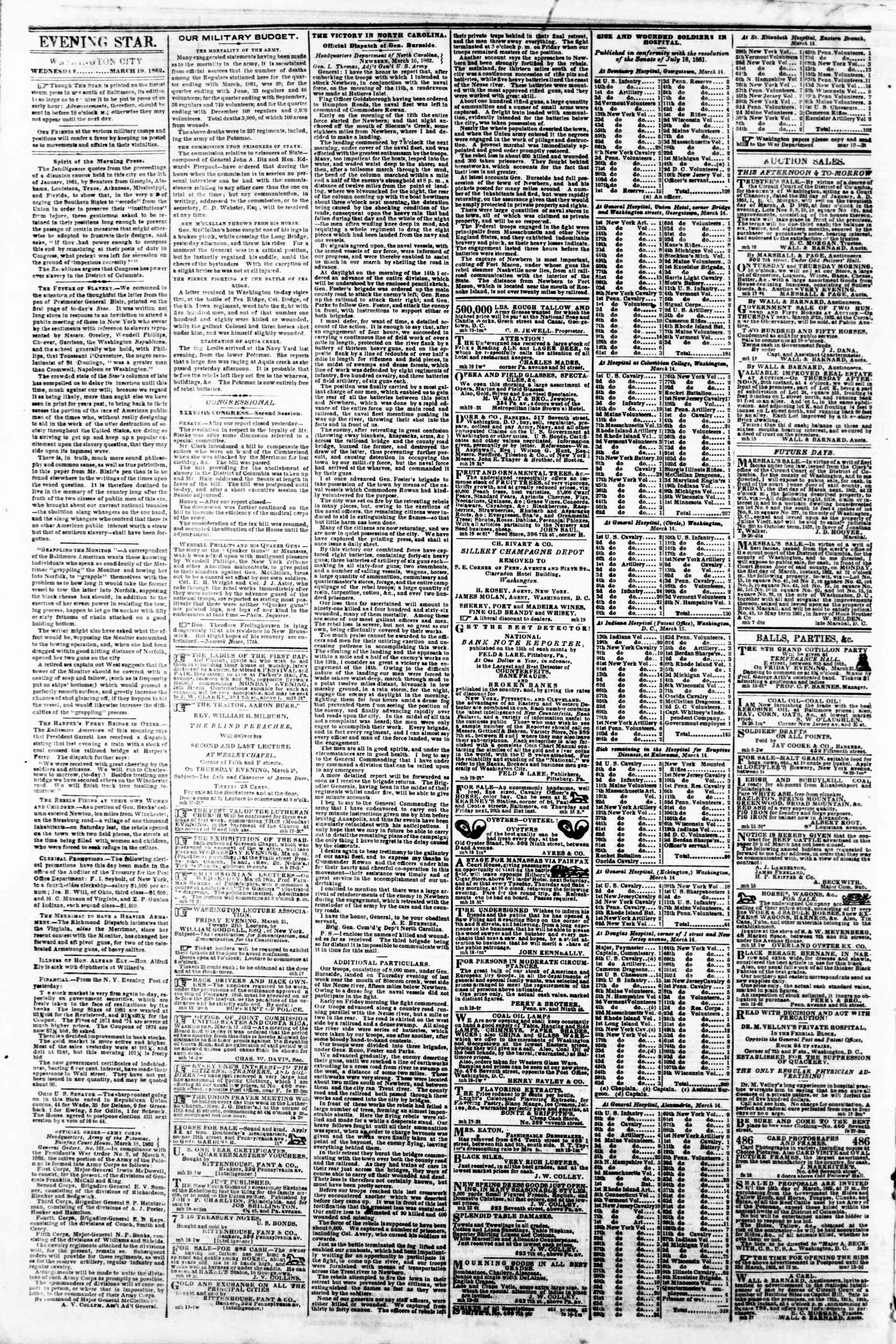 Newspaper of Evening Star dated March 19, 1862 Page 2