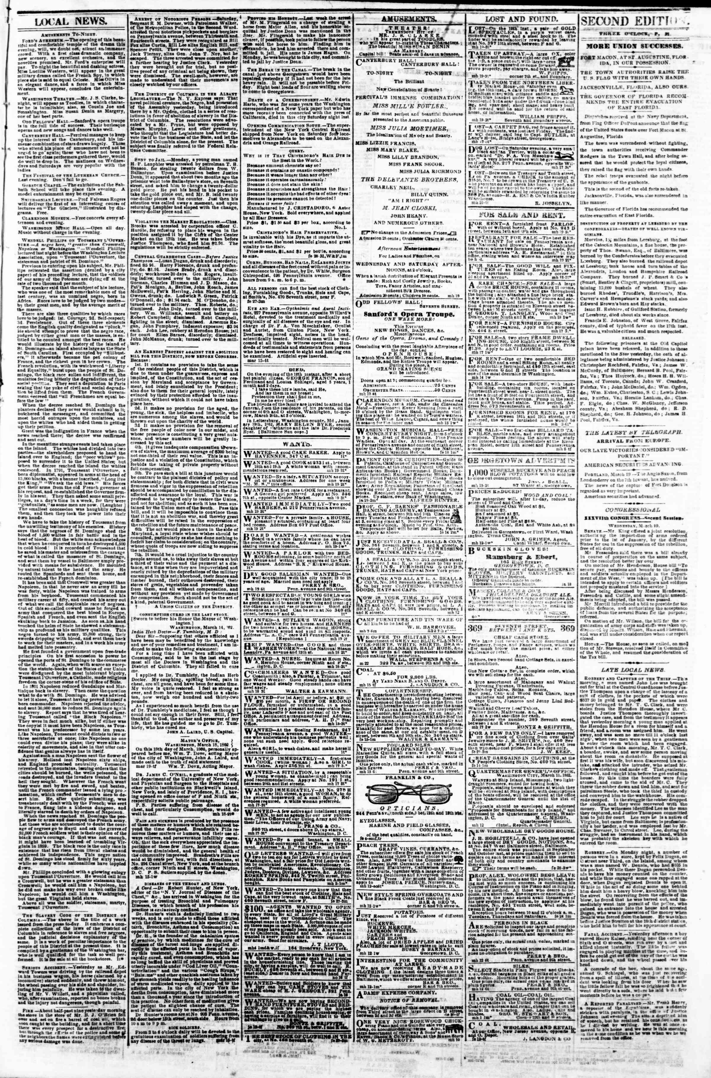 Newspaper of Evening Star dated March 19, 1862 Page 3