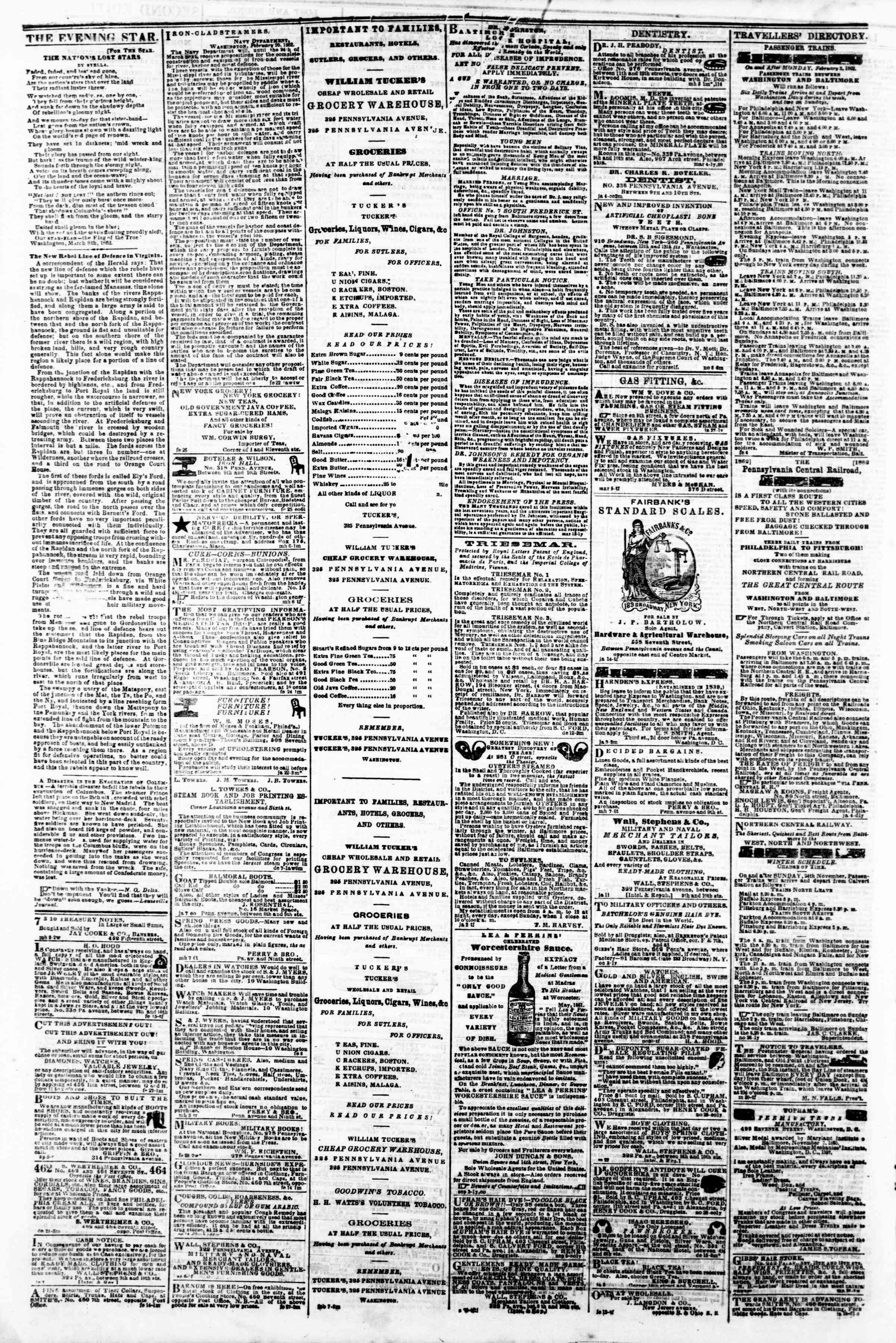 Newspaper of Evening Star dated March 19, 1862 Page 4
