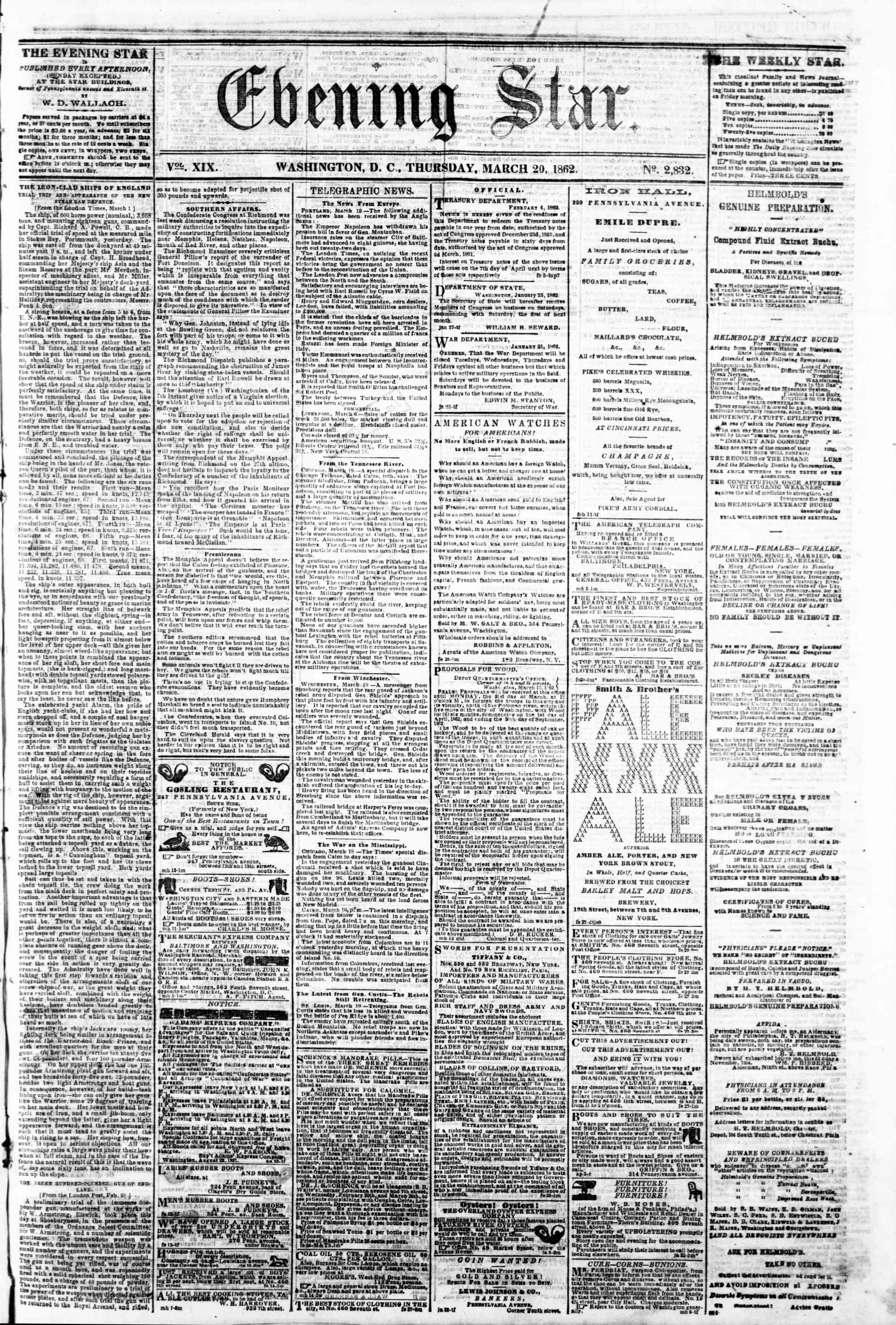 Newspaper of Evening Star dated March 20, 1862 Page 1