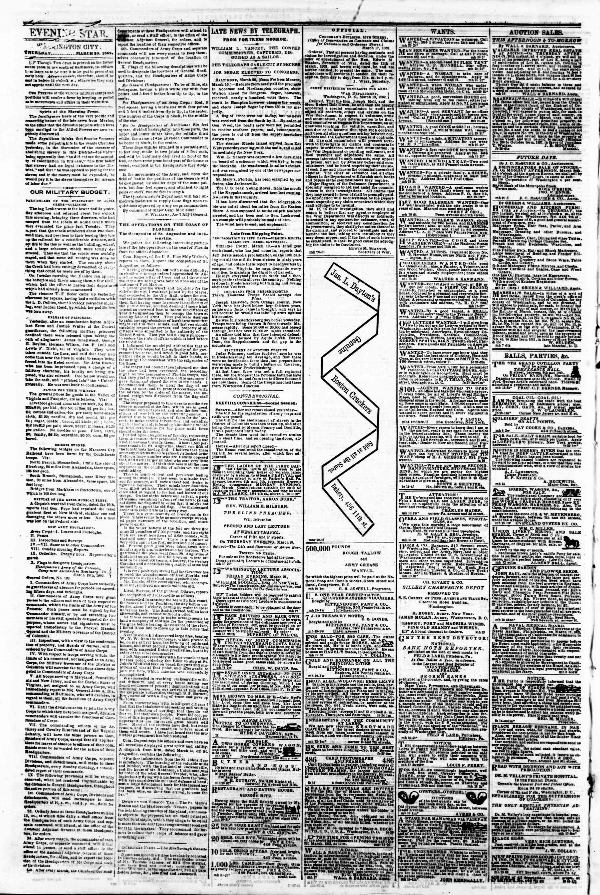 Newspaper of Evening Star dated March 20, 1862 Page 2