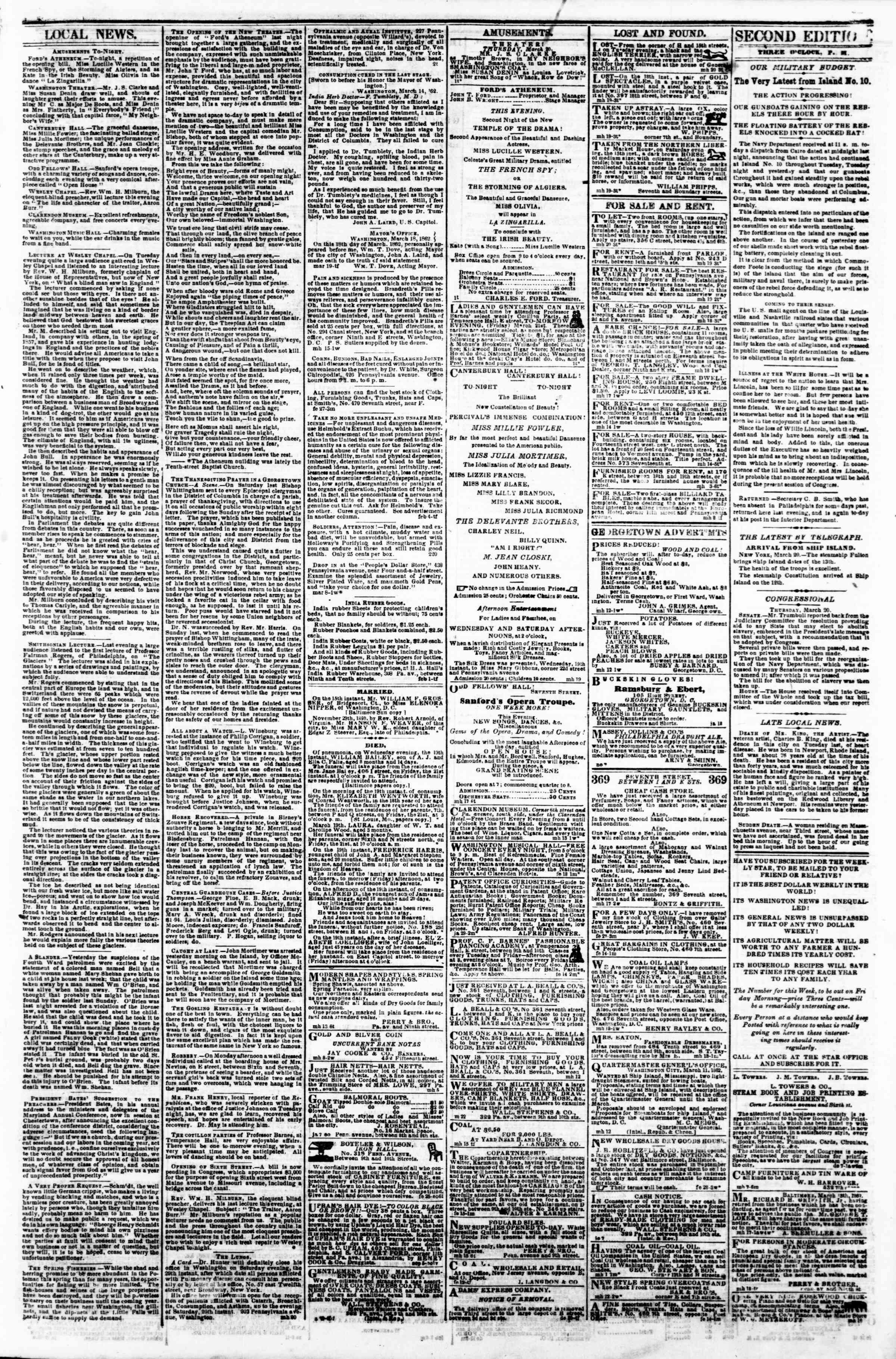 Newspaper of Evening Star dated March 20, 1862 Page 3