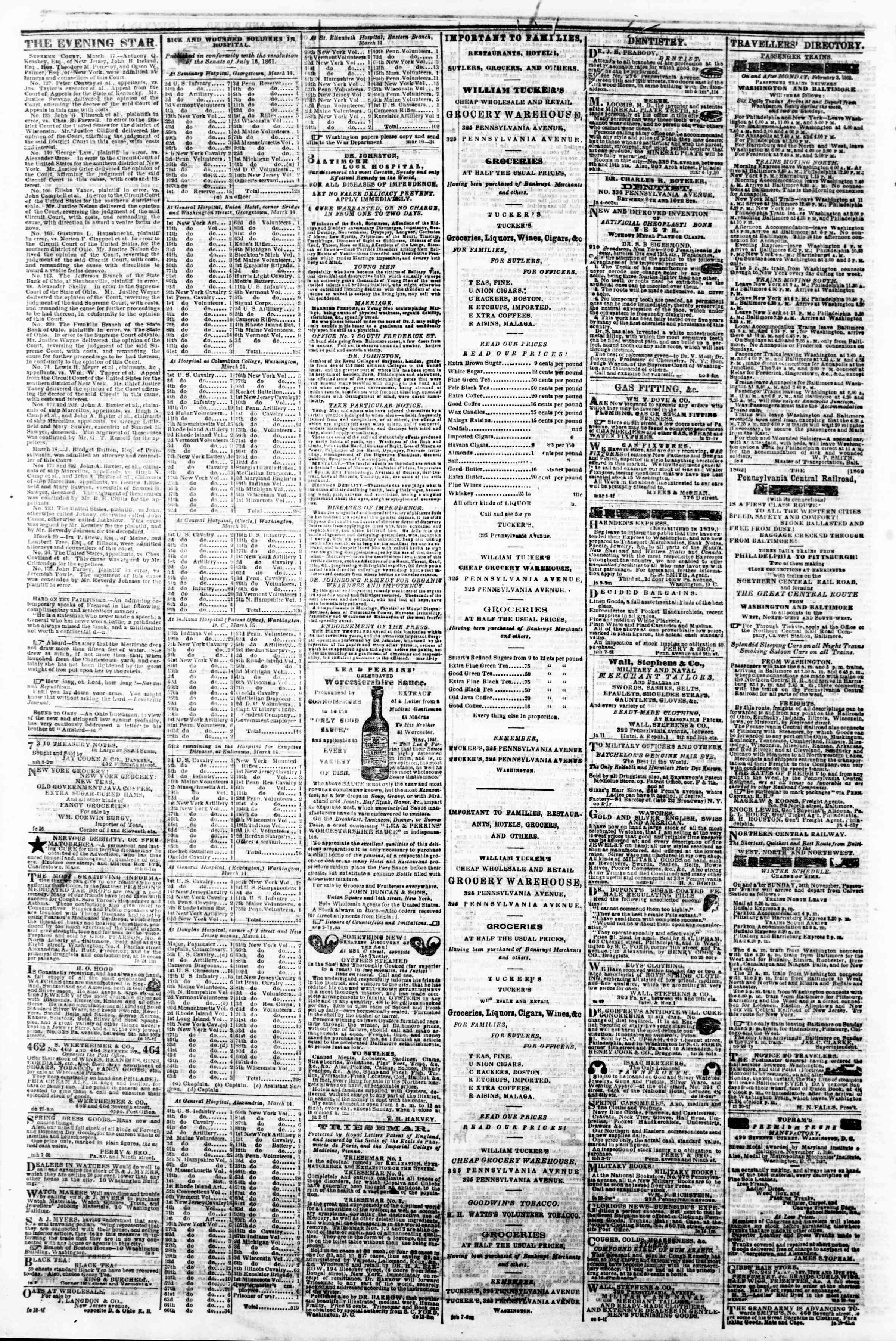 Newspaper of Evening Star dated March 20, 1862 Page 4