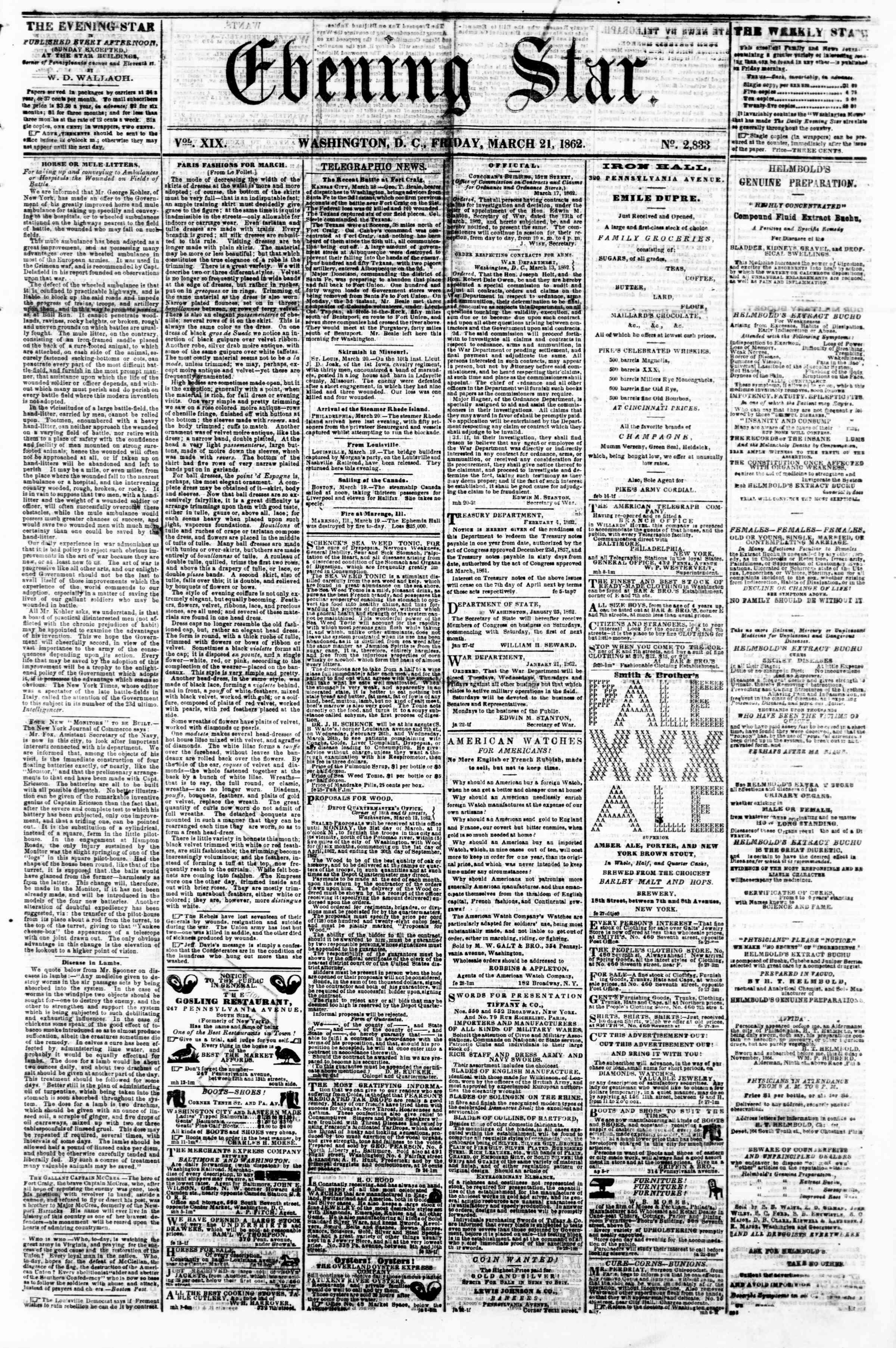 21 Mart 1862 tarihli Evening Star Gazetesi Sayfa 1