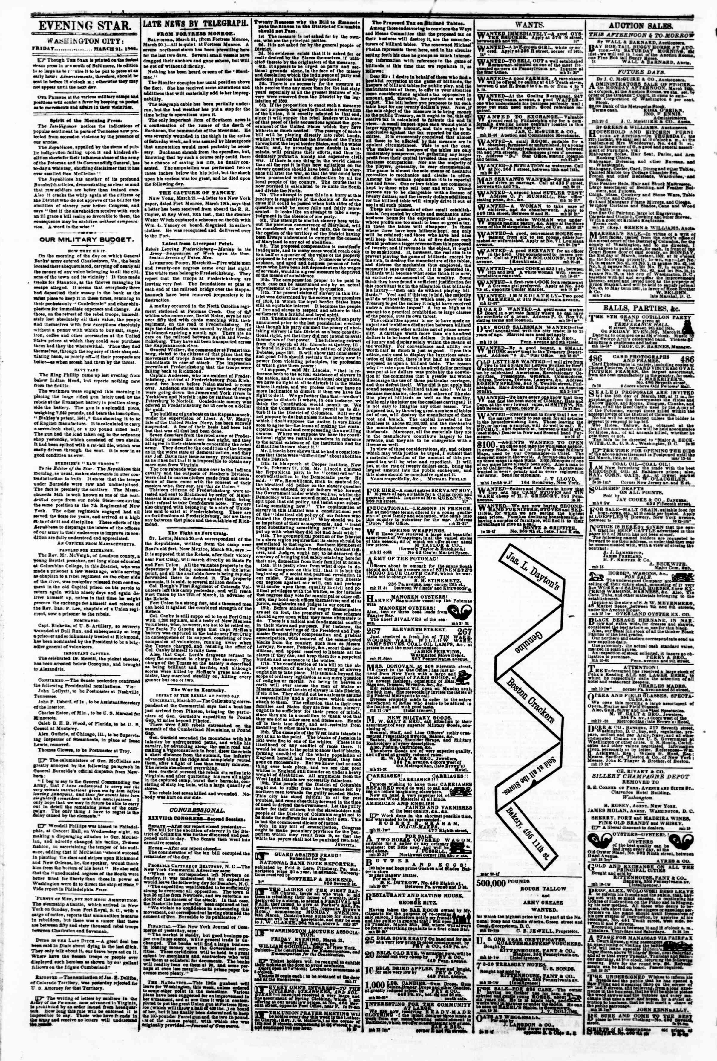 Newspaper of Evening Star dated March 21, 1862 Page 2