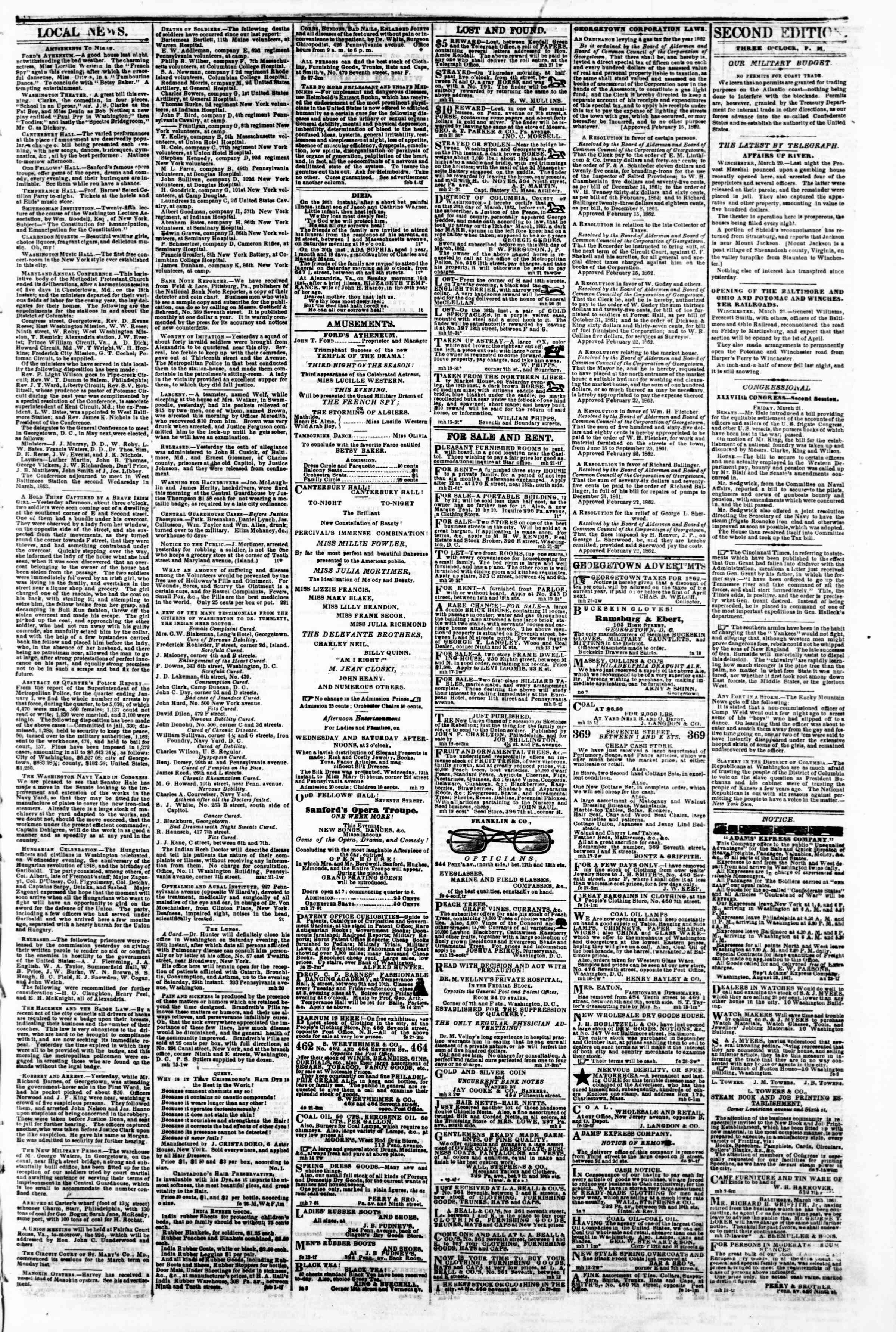Newspaper of Evening Star dated March 21, 1862 Page 3