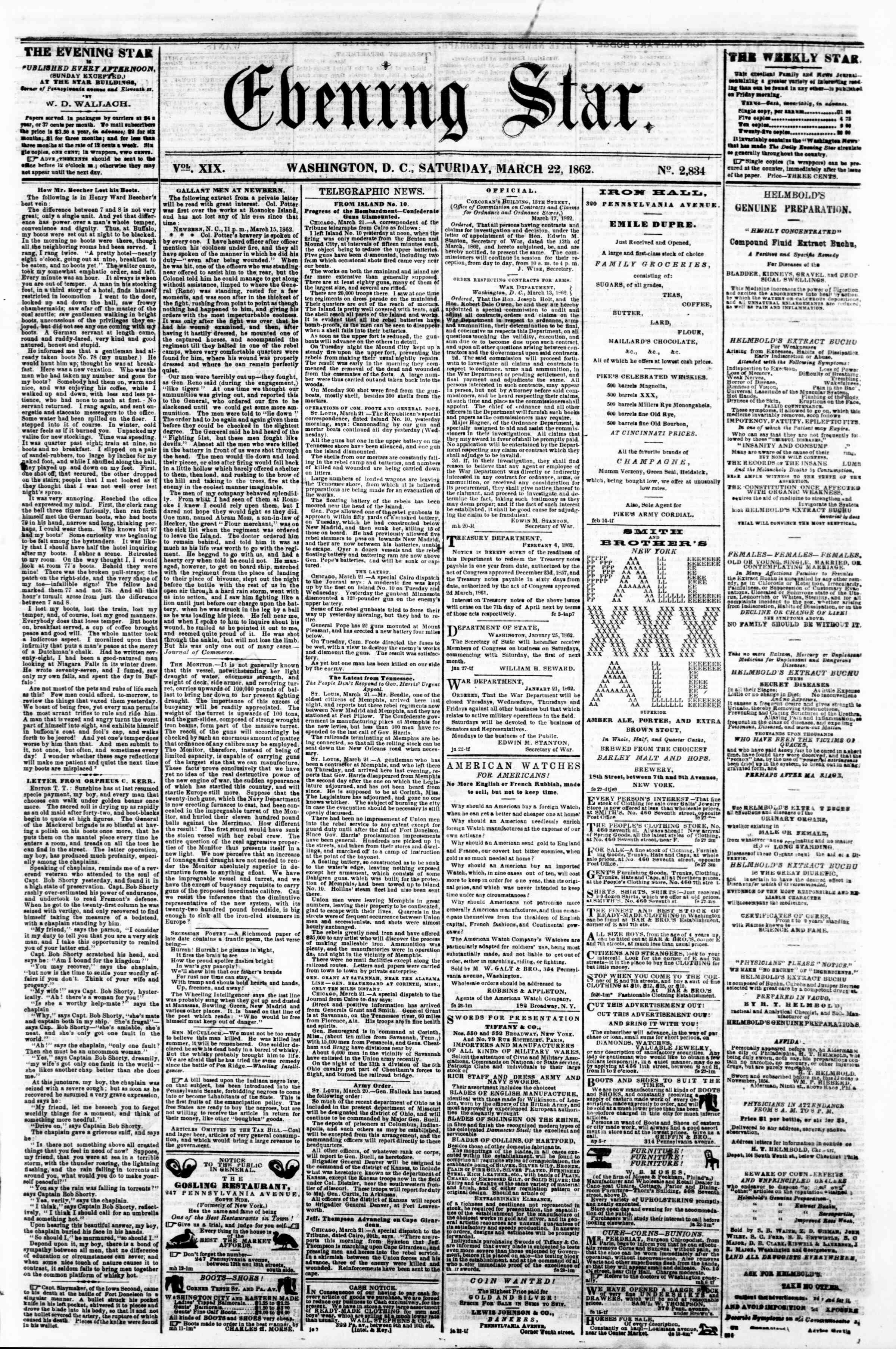 Newspaper of Evening Star dated March 22, 1862 Page 1