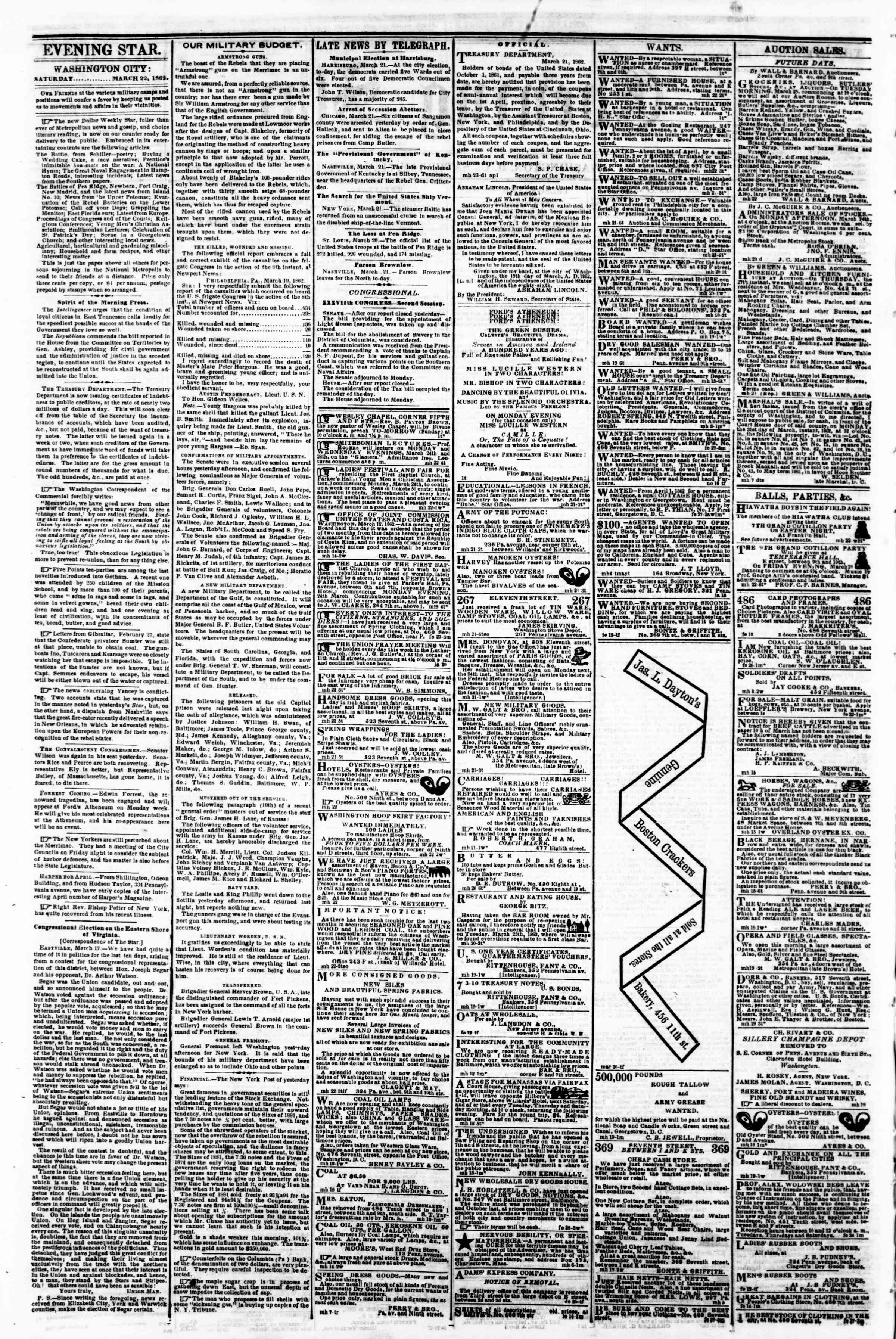 Newspaper of Evening Star dated March 22, 1862 Page 2