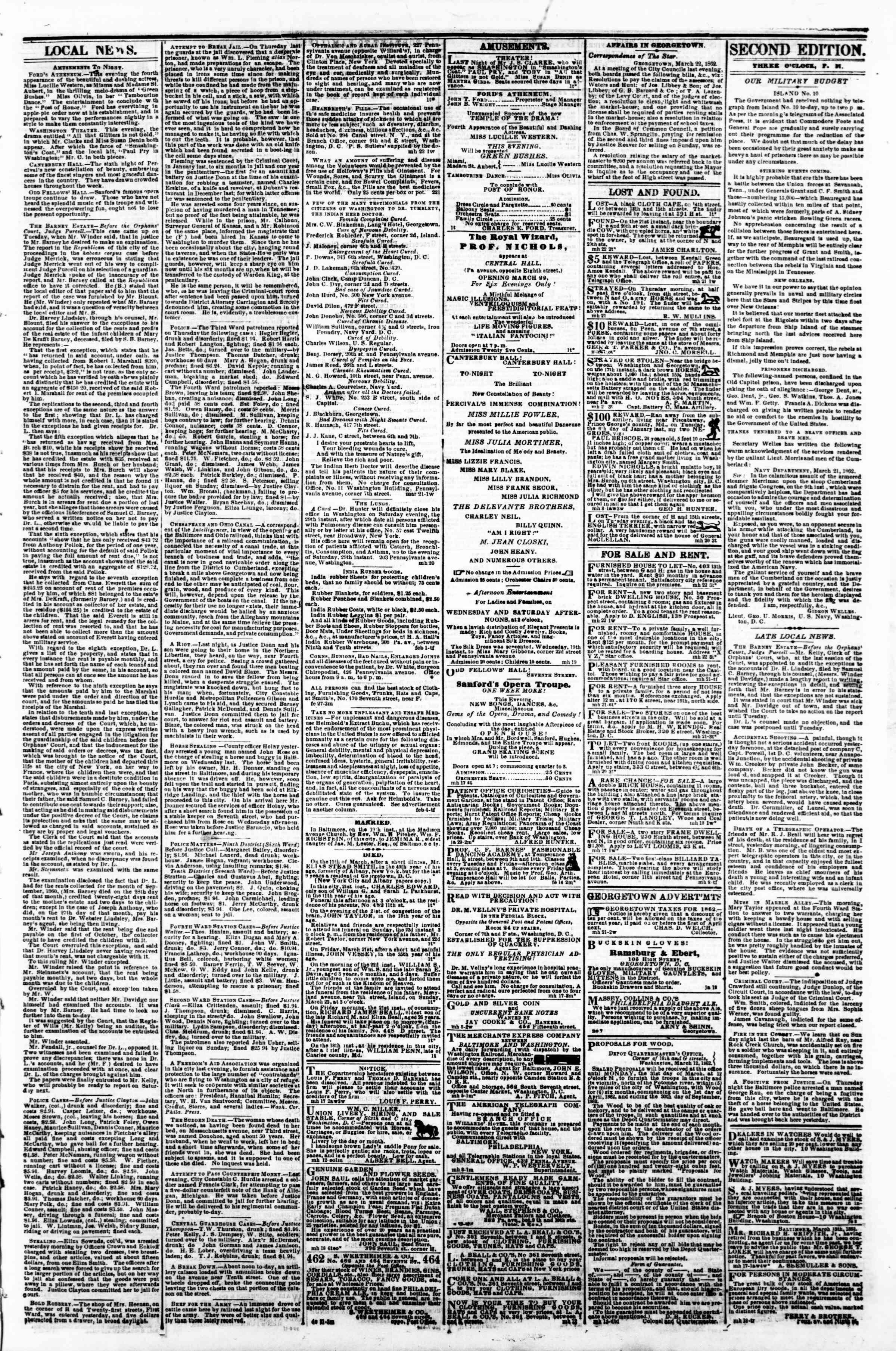 Newspaper of Evening Star dated March 22, 1862 Page 3