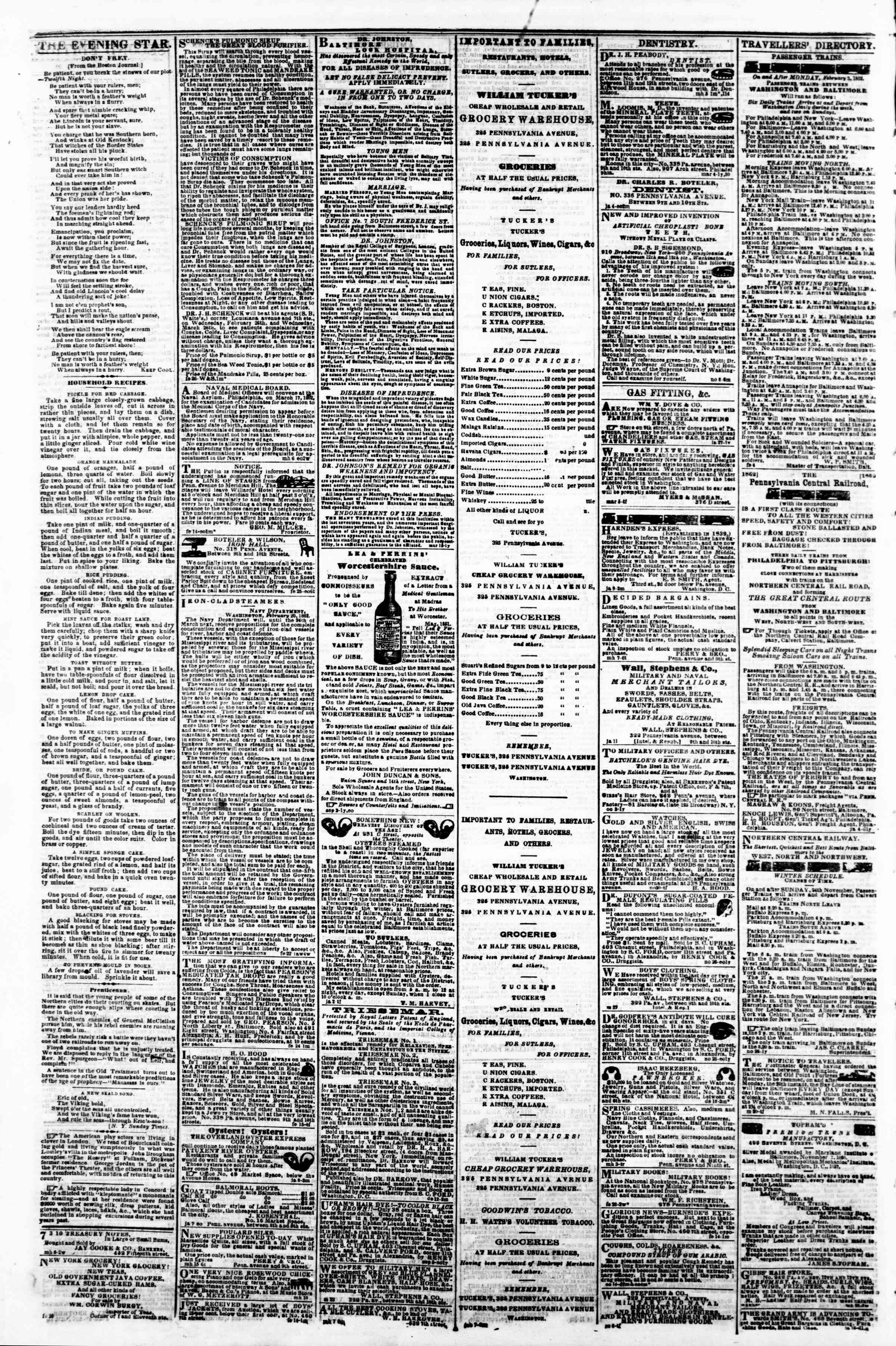 Newspaper of Evening Star dated March 22, 1862 Page 4