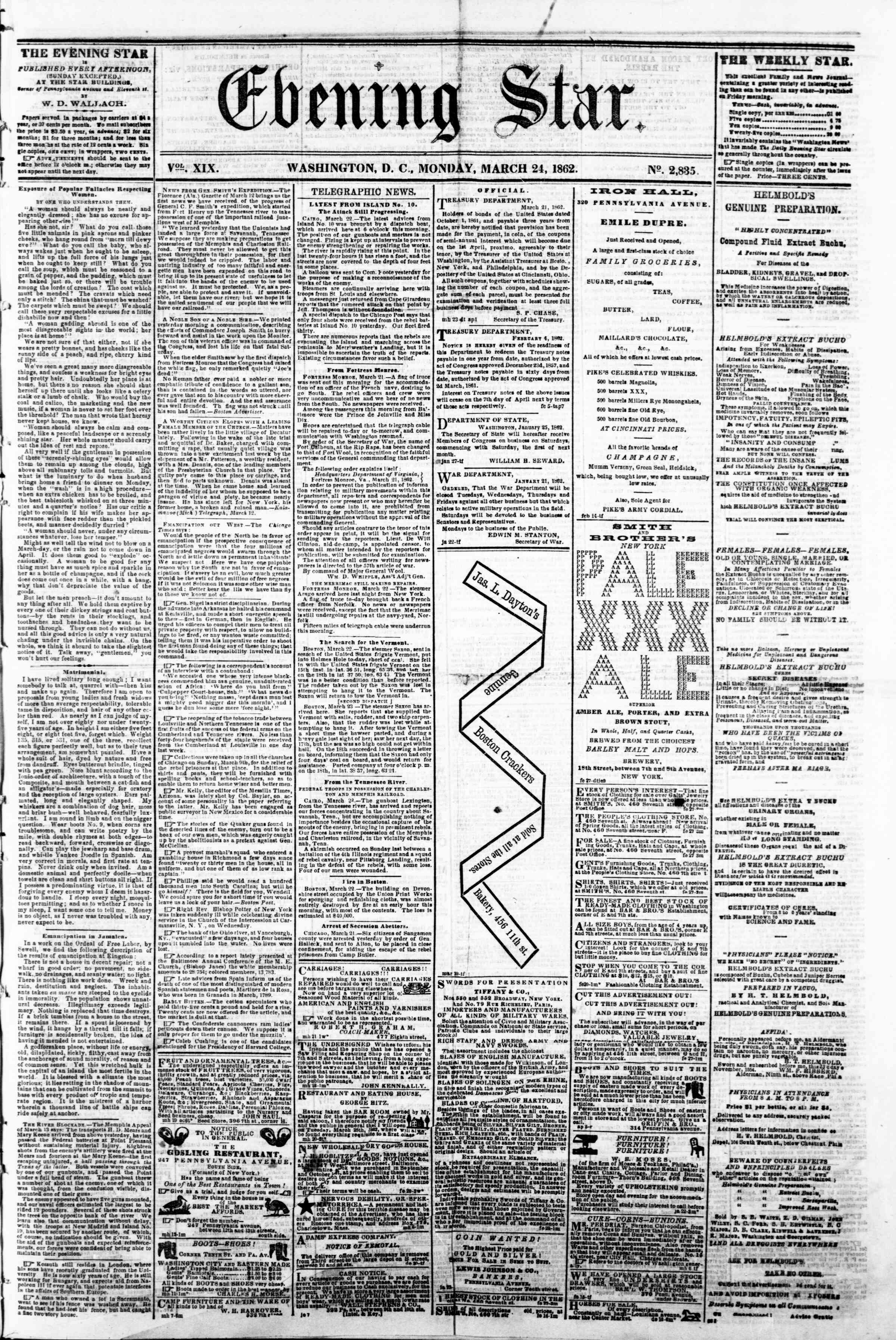 Newspaper of Evening Star dated March 24, 1862 Page 1