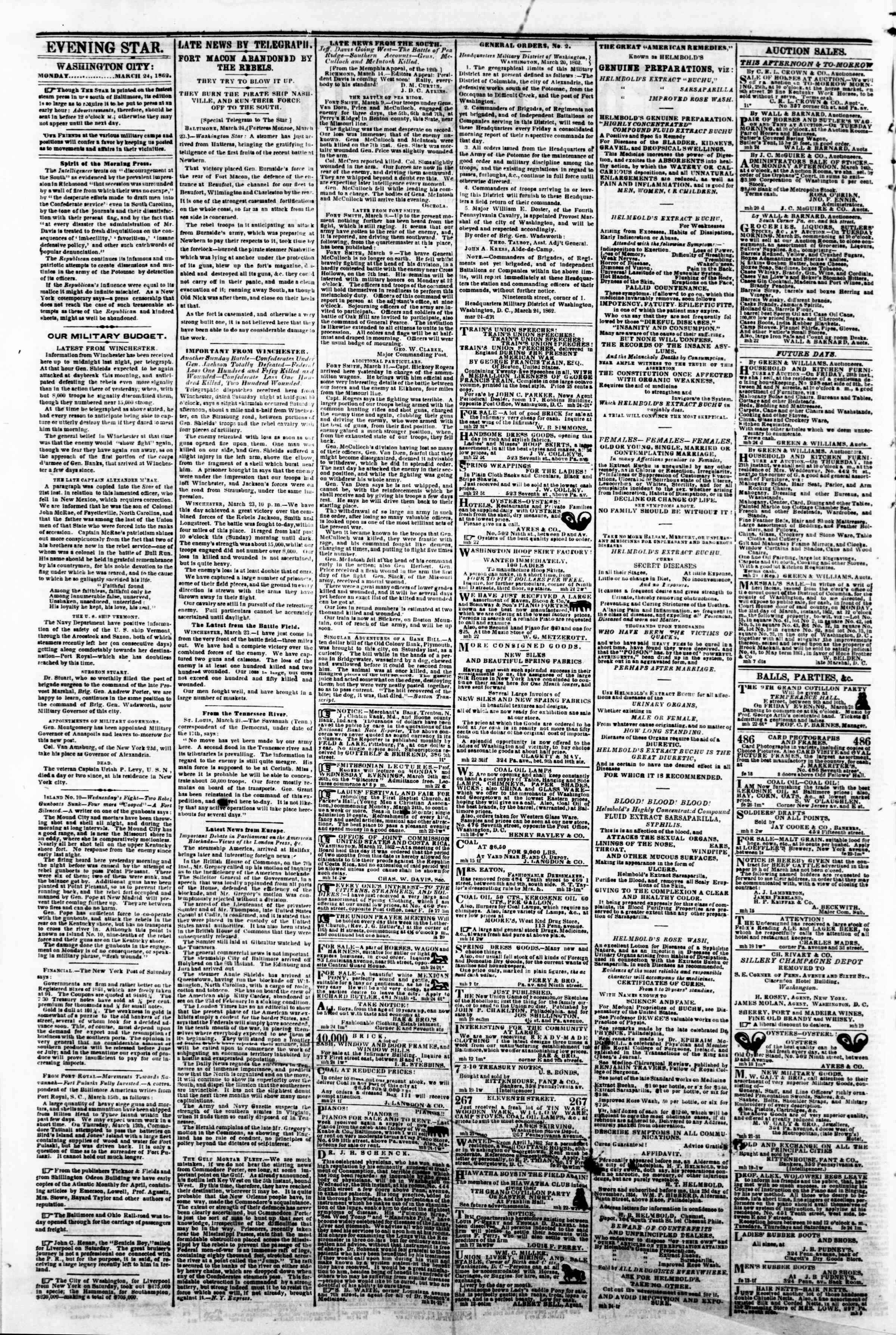 Newspaper of Evening Star dated March 24, 1862 Page 2