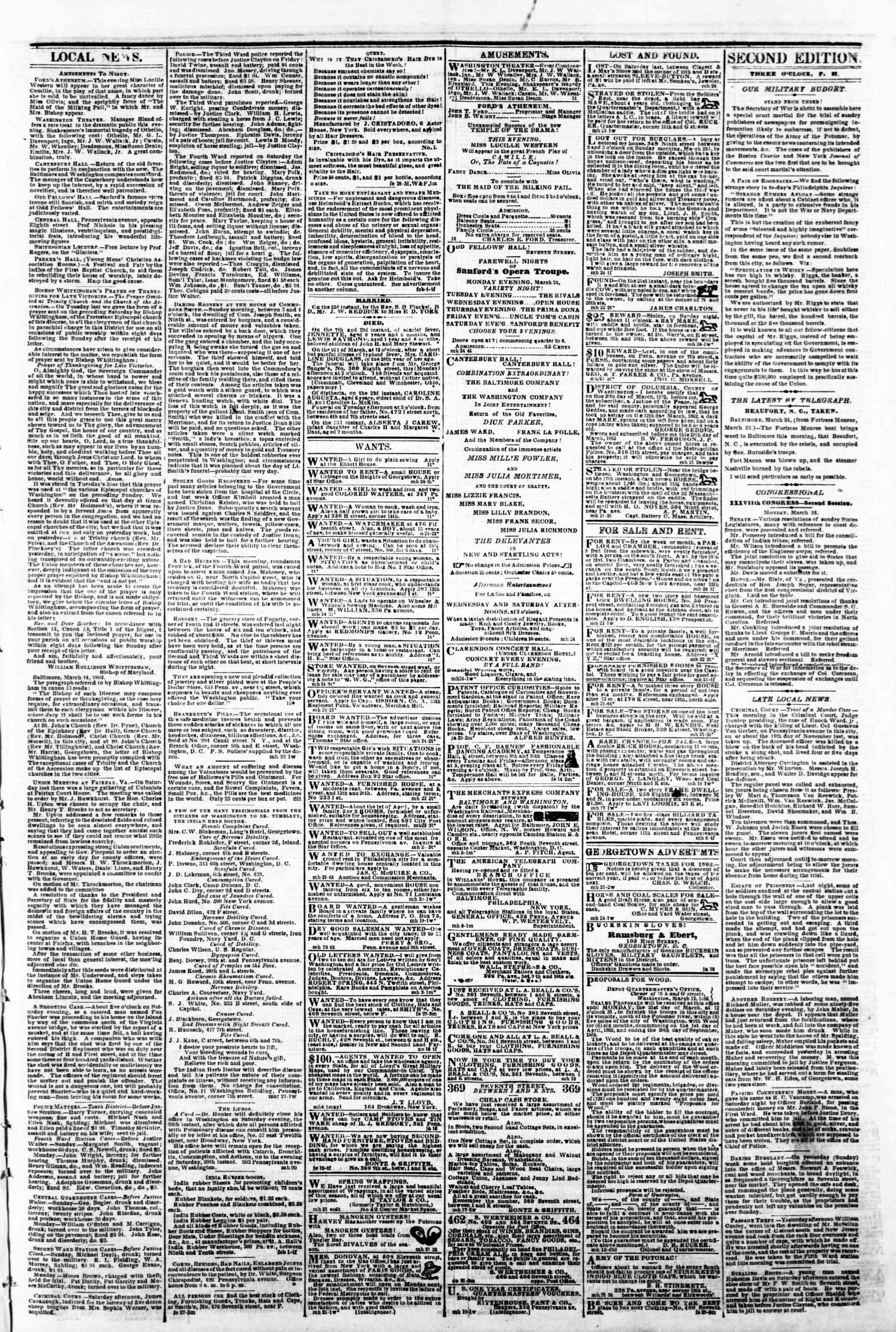 Newspaper of Evening Star dated March 24, 1862 Page 3