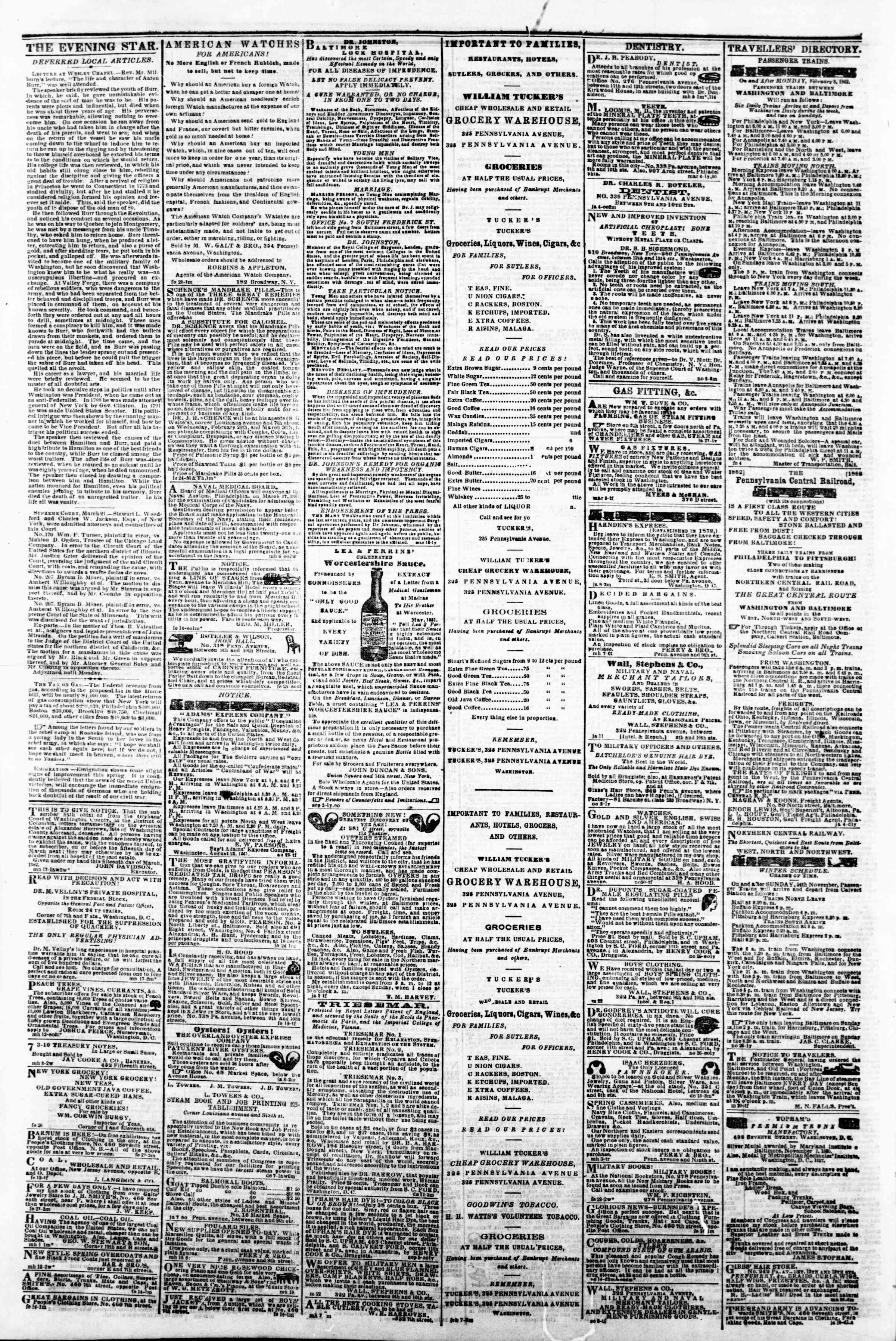 Newspaper of Evening Star dated March 24, 1862 Page 4