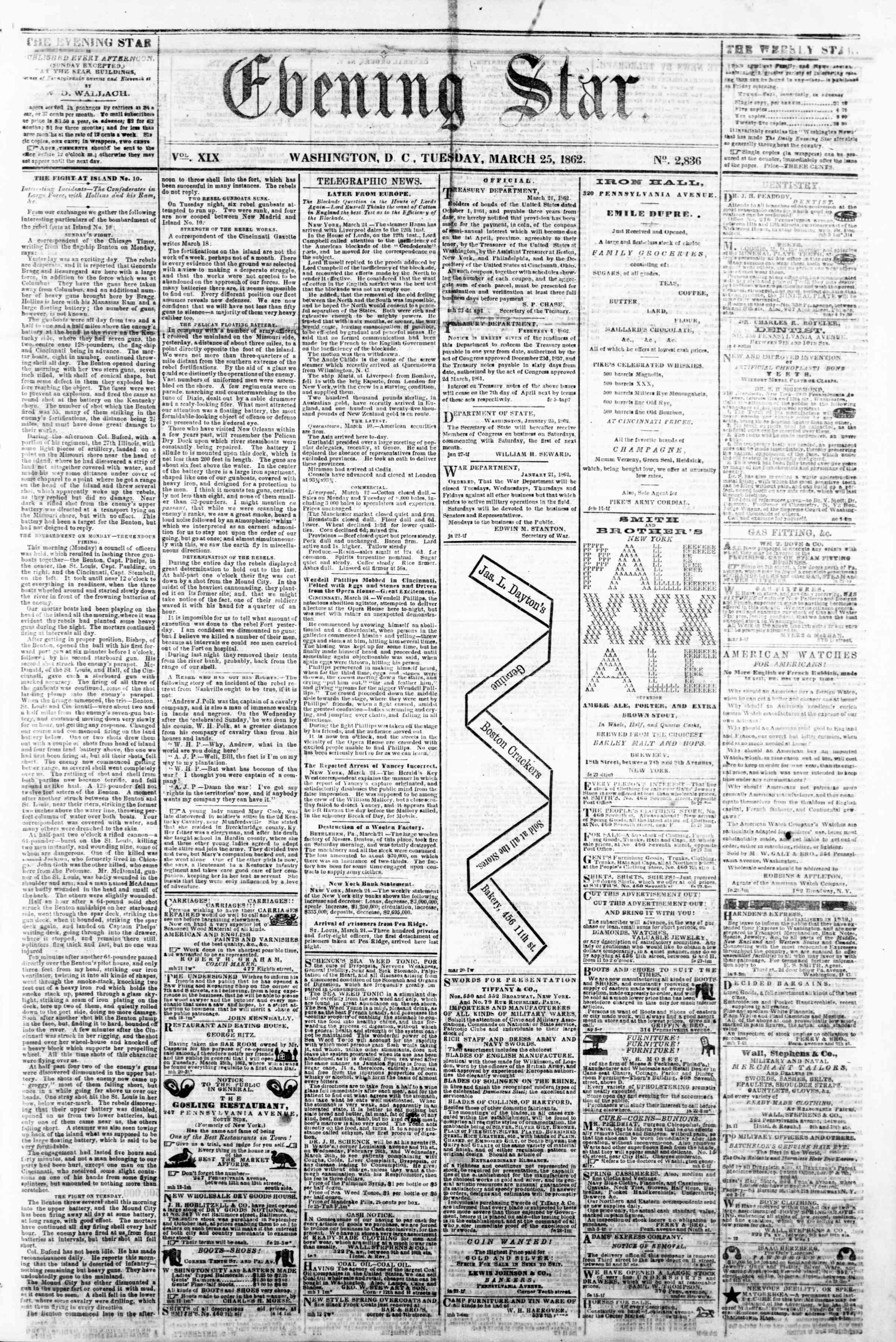 Newspaper of Evening Star dated March 25, 1862 Page 1
