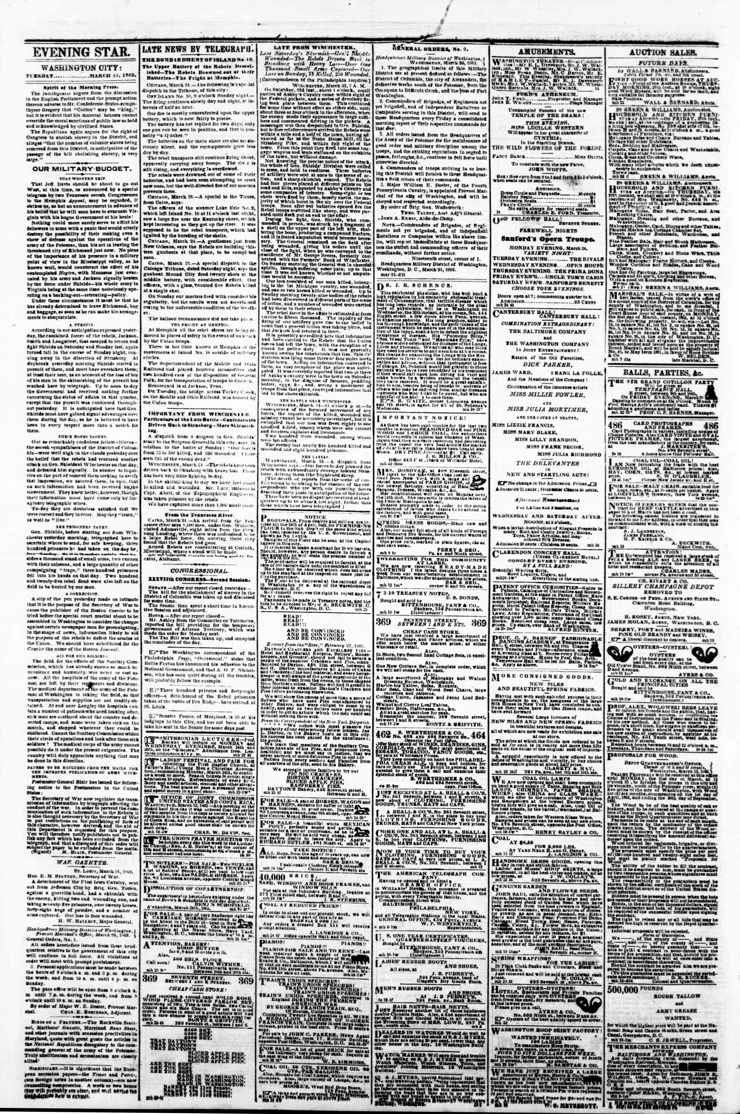 Newspaper of Evening Star dated March 25, 1862 Page 2