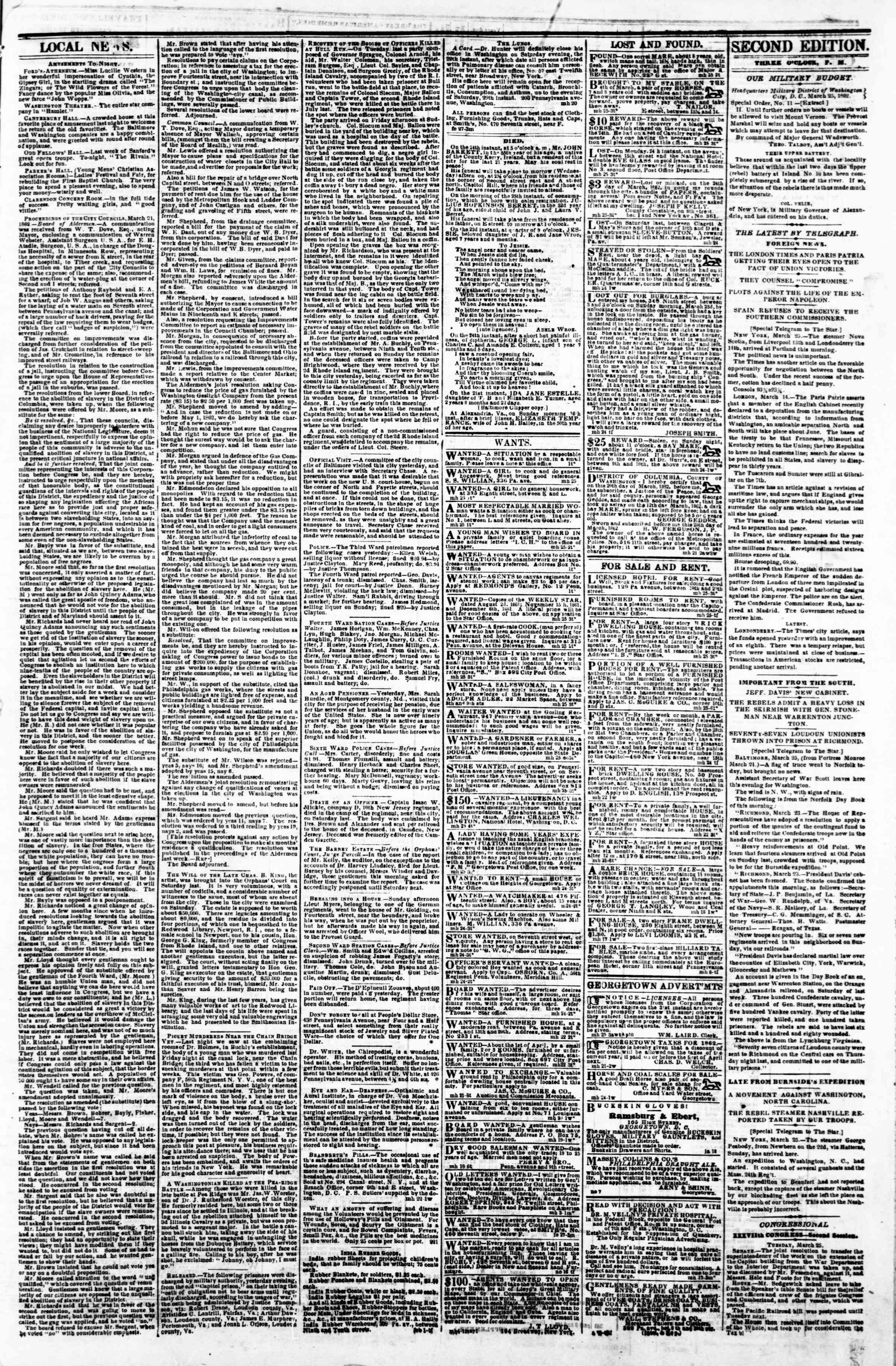 Newspaper of Evening Star dated March 25, 1862 Page 3