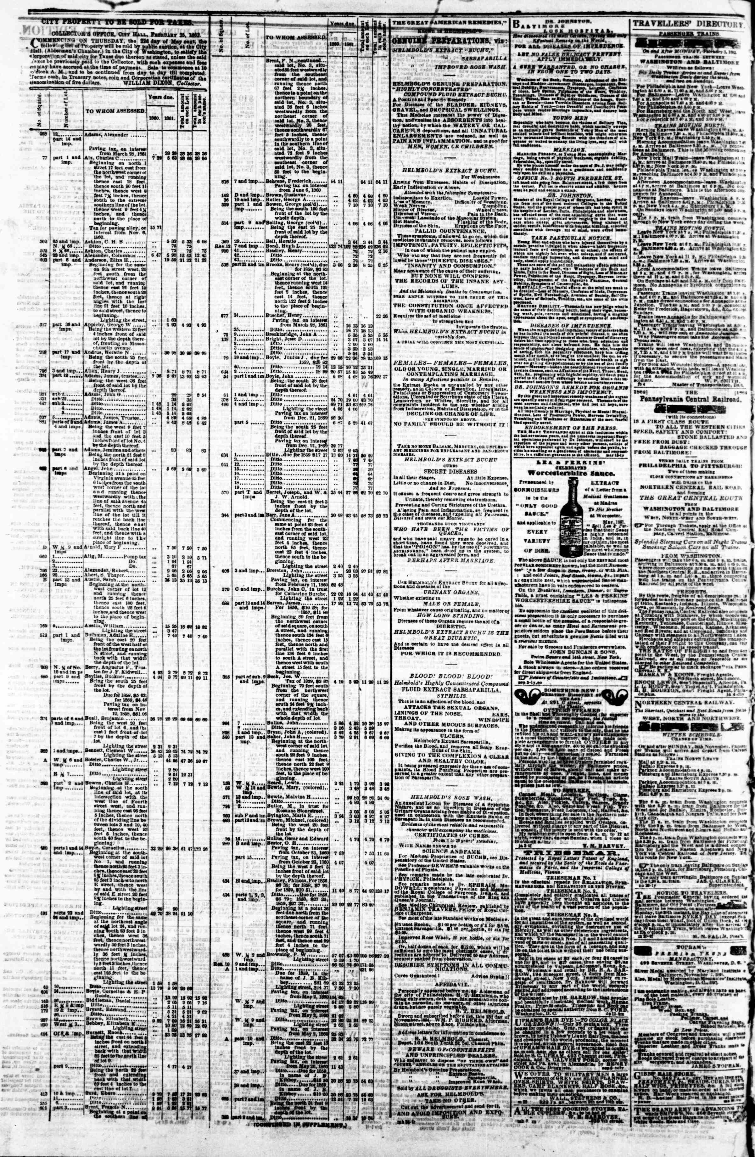 Newspaper of Evening Star dated March 25, 1862 Page 4