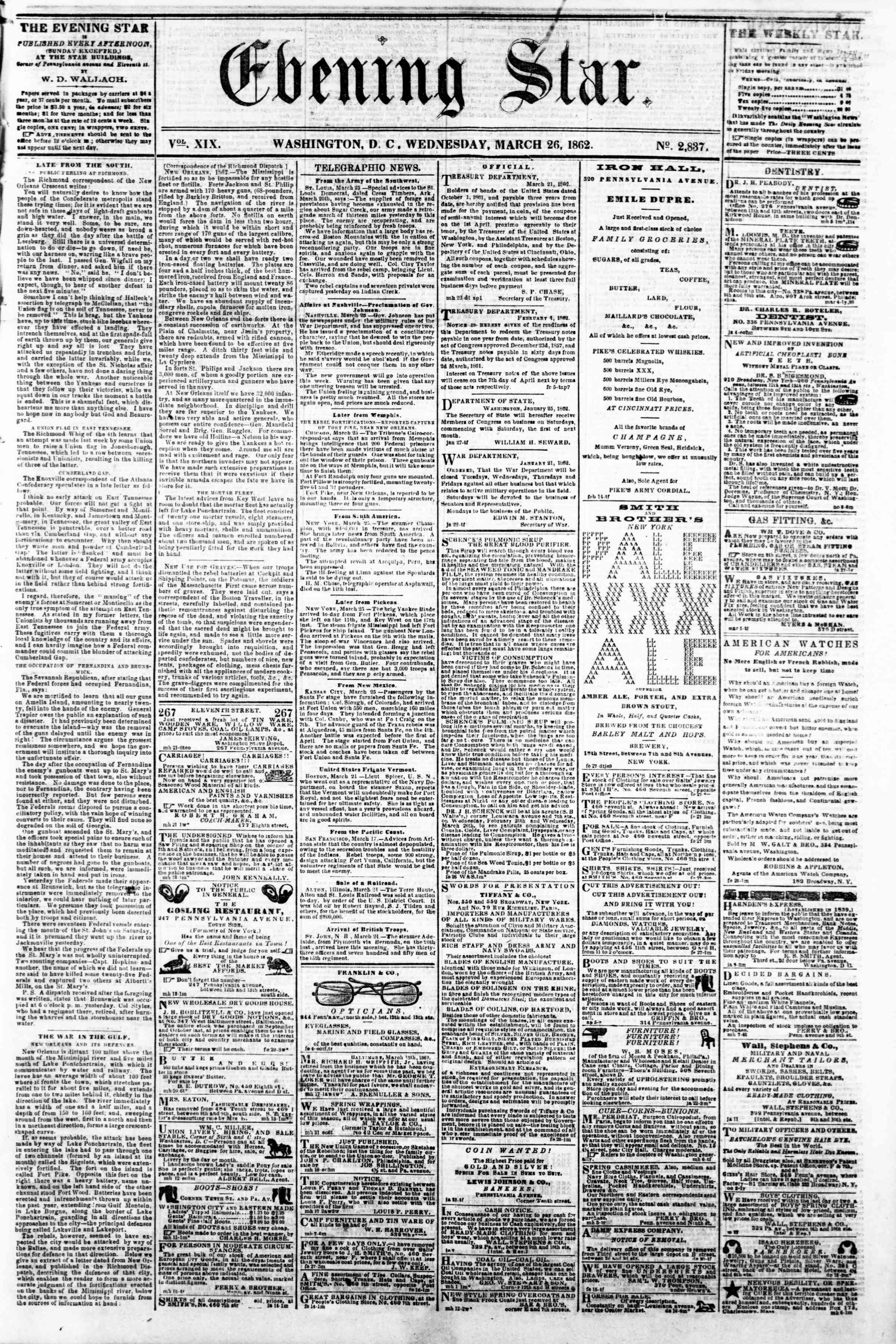 26 Mart 1862 tarihli Evening Star Gazetesi Sayfa 1