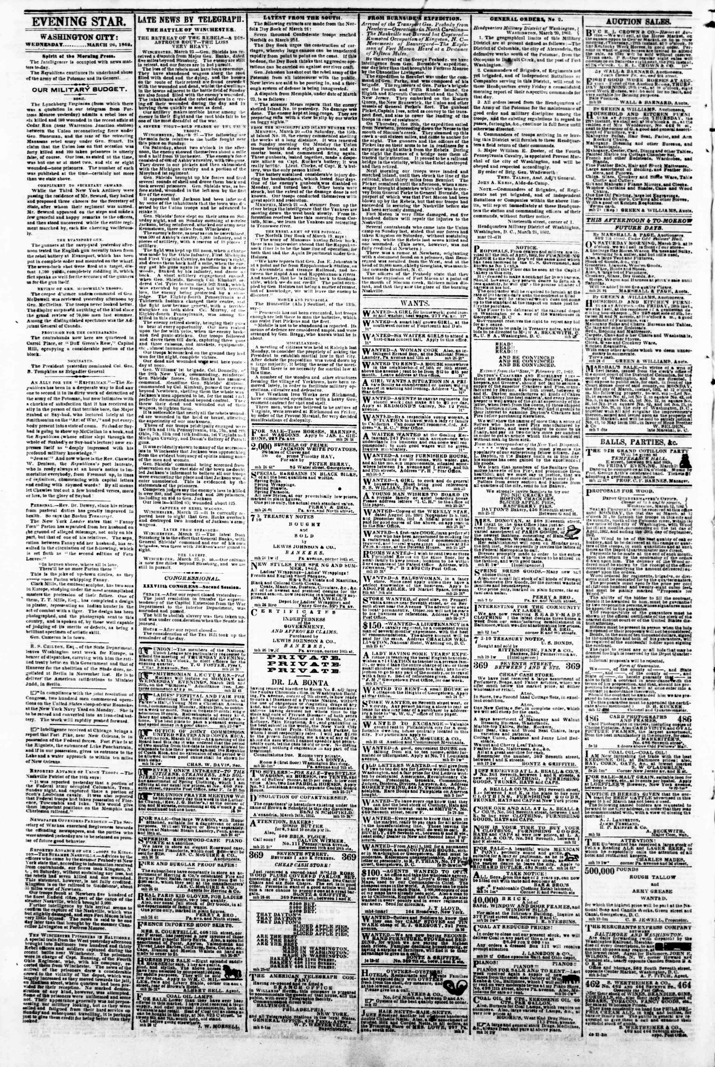 Newspaper of Evening Star dated March 26, 1862 Page 2