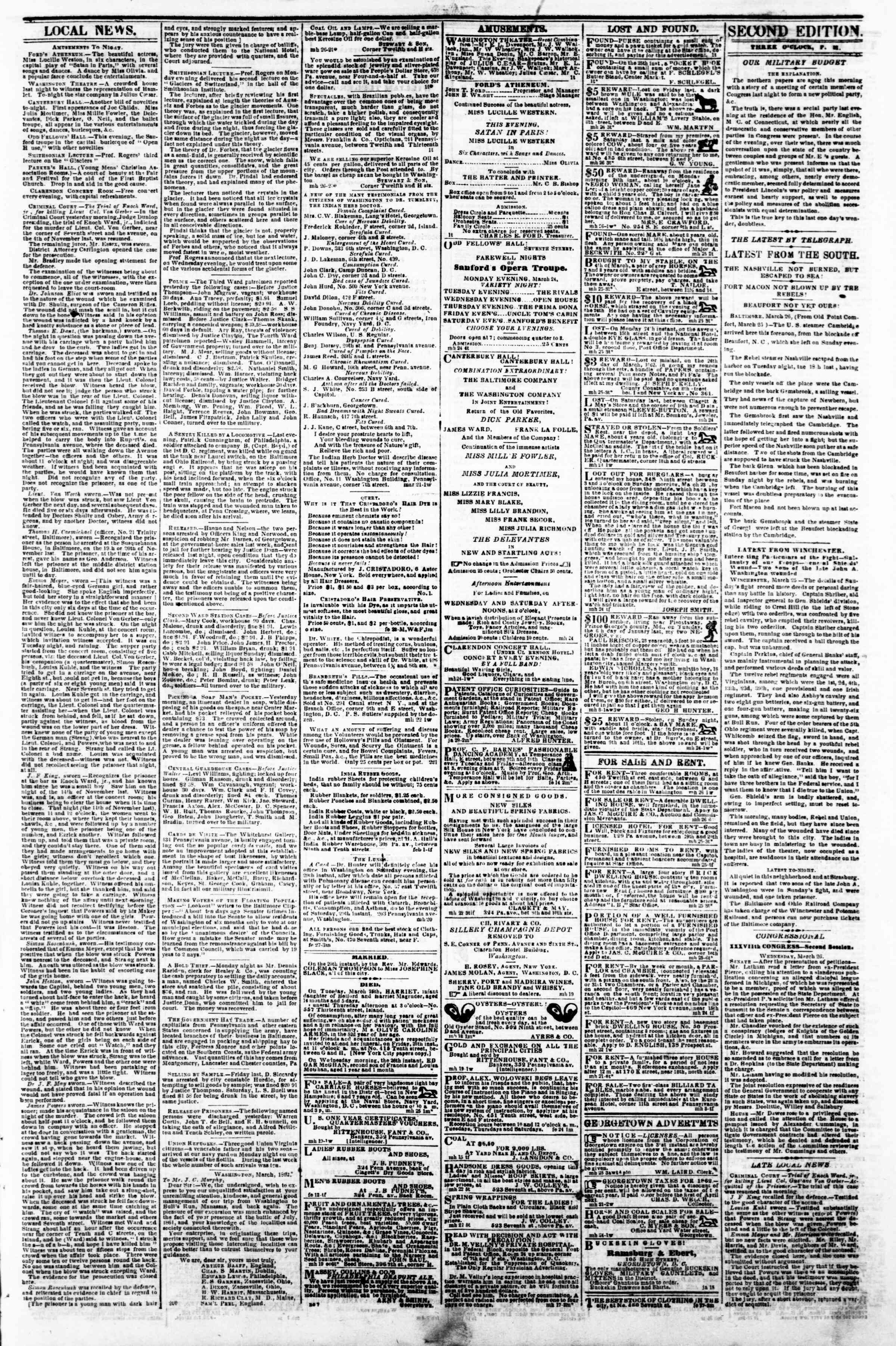 Newspaper of Evening Star dated March 26, 1862 Page 3