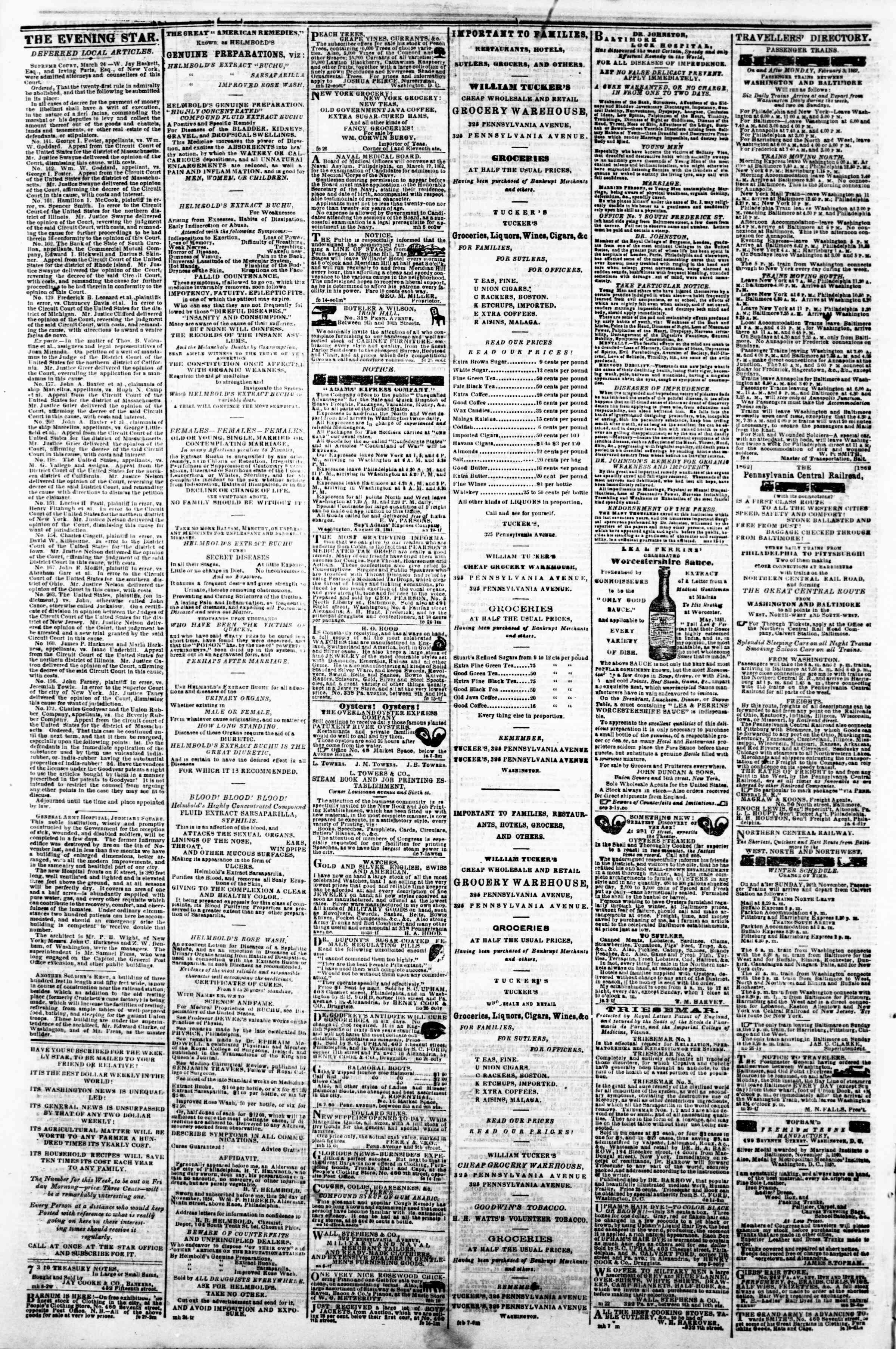 Newspaper of Evening Star dated 26 Mart 1862 Page 4