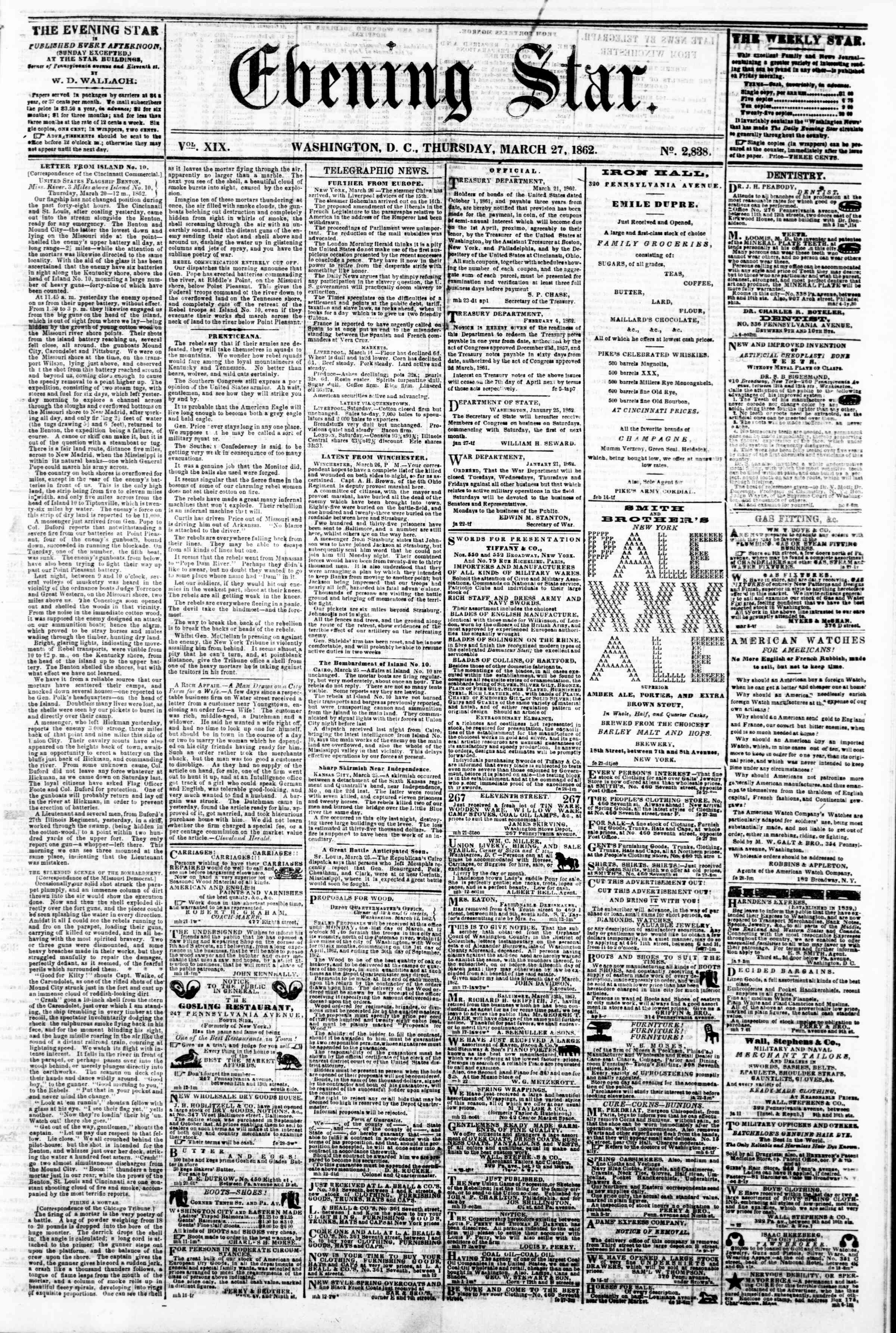 Newspaper of Evening Star dated March 27, 1862 Page 1