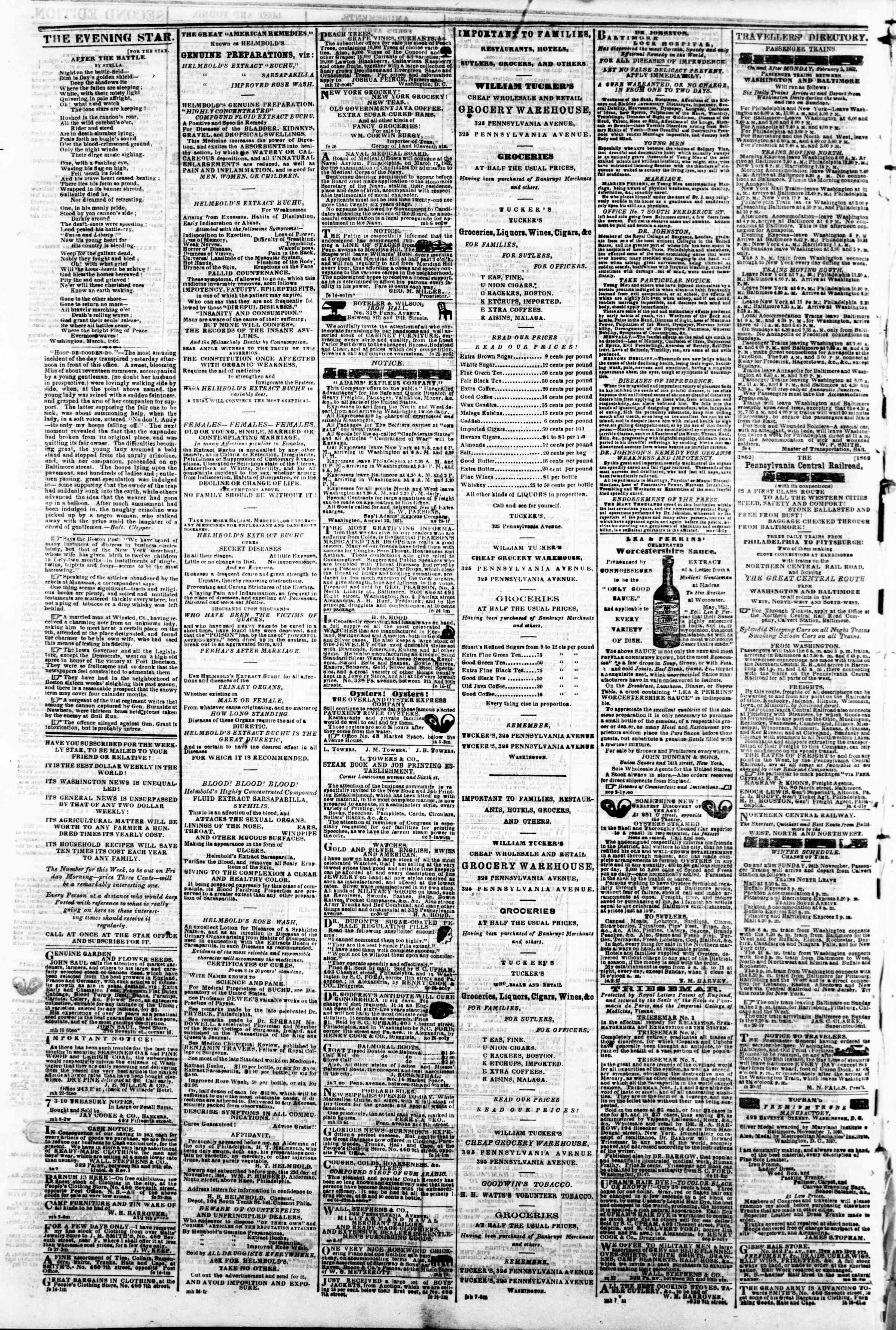 Newspaper of Evening Star dated March 27, 1862 Page 4