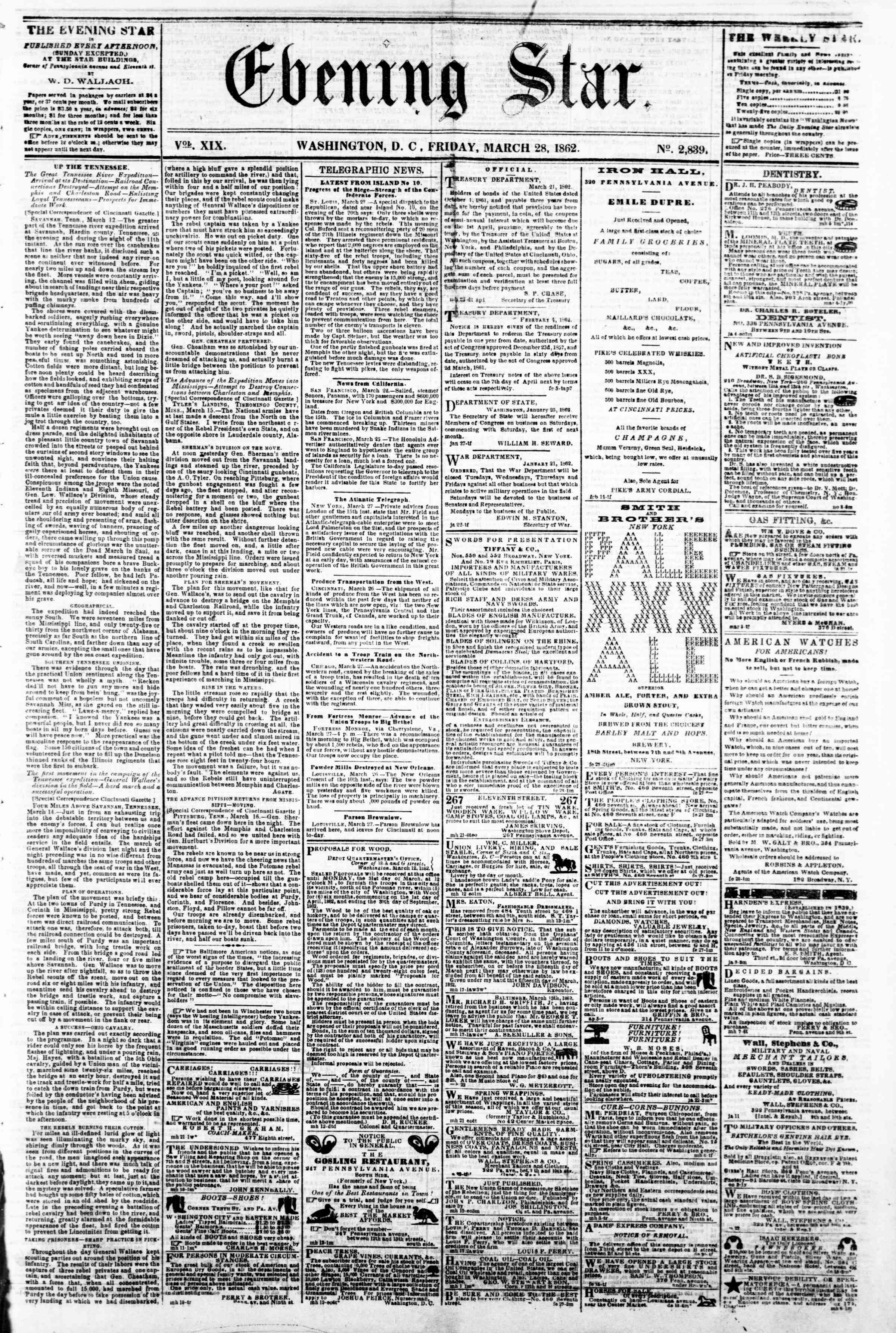 Newspaper of Evening Star dated March 28, 1862 Page 1