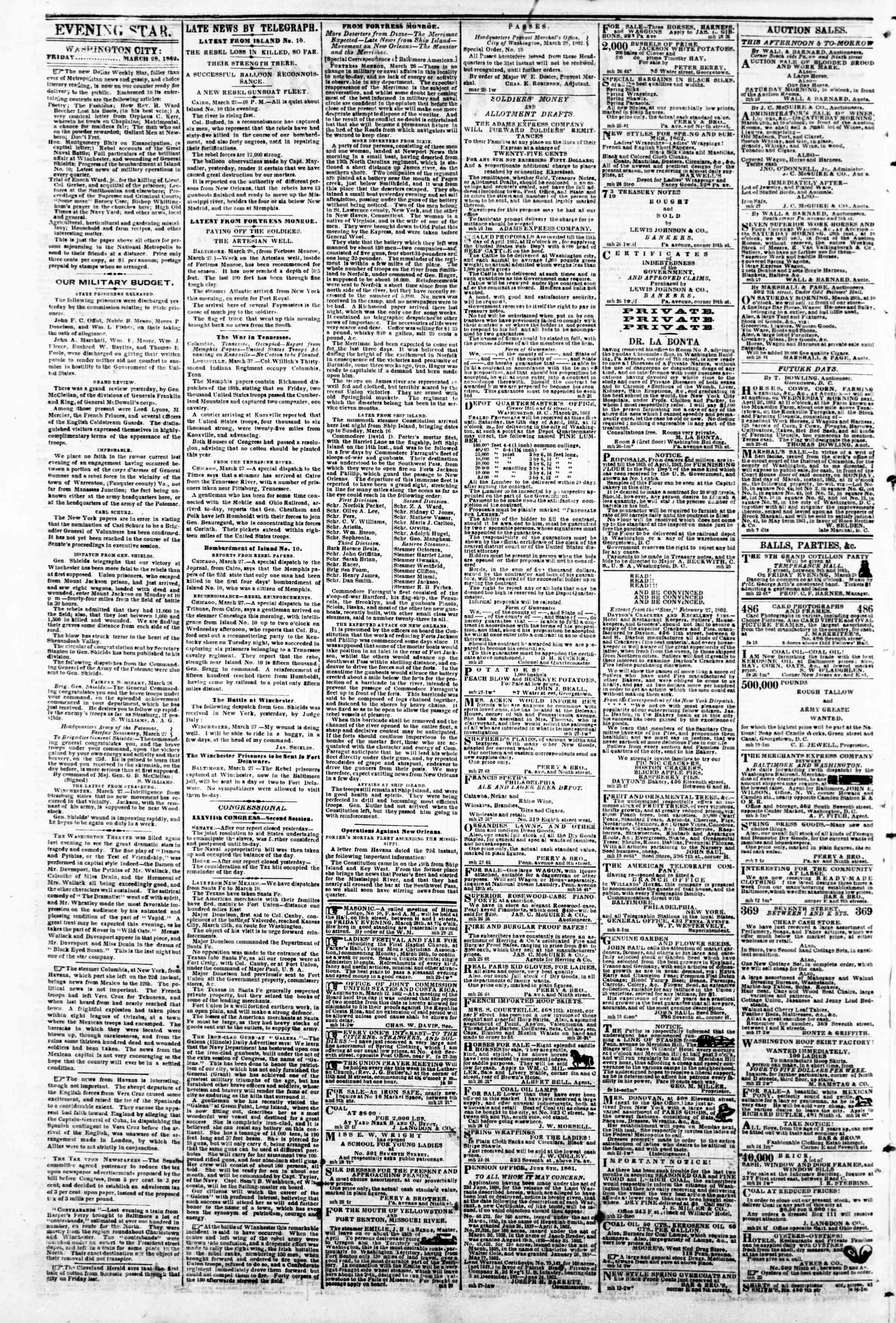 Newspaper of Evening Star dated March 28, 1862 Page 2