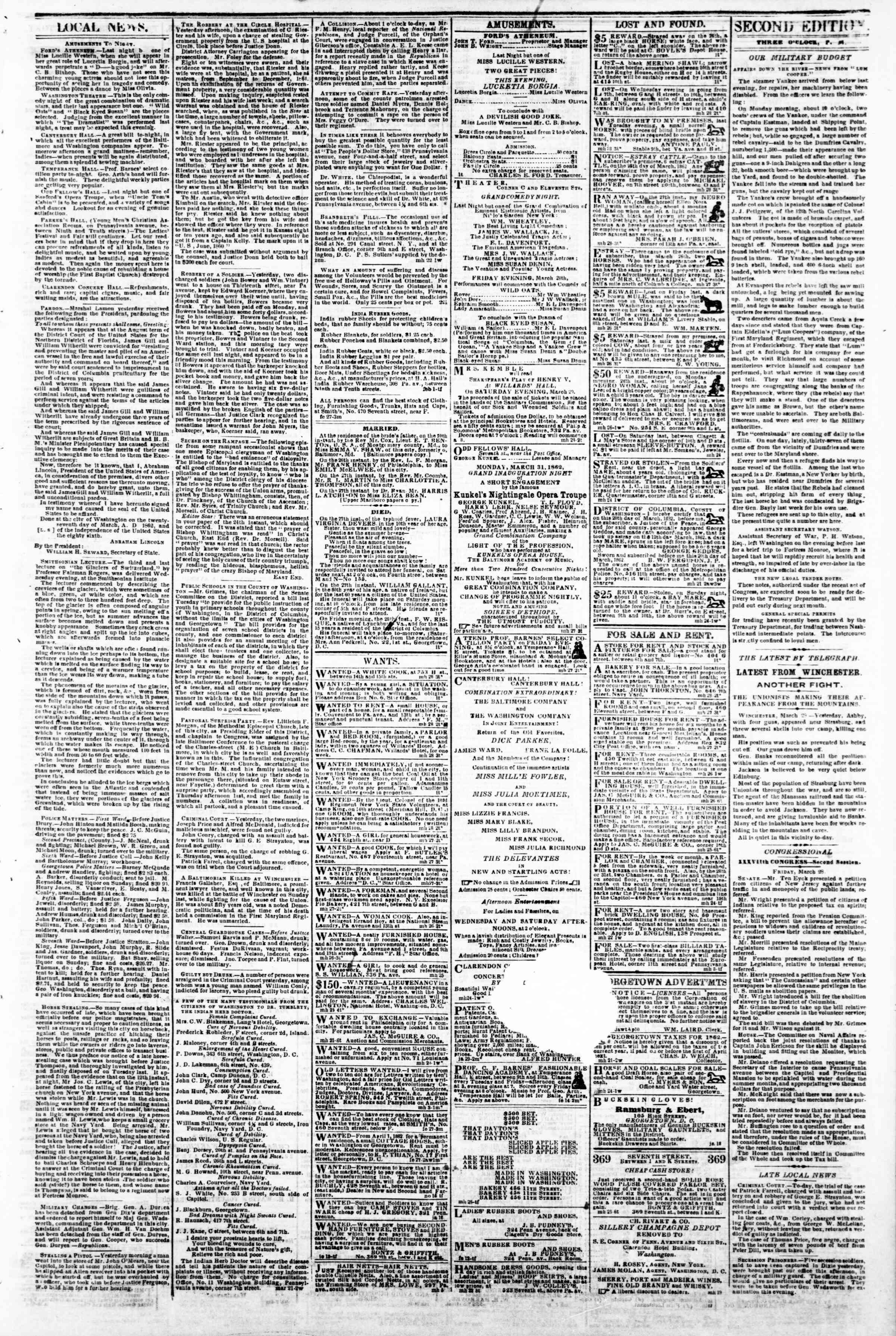 Newspaper of Evening Star dated March 28, 1862 Page 3