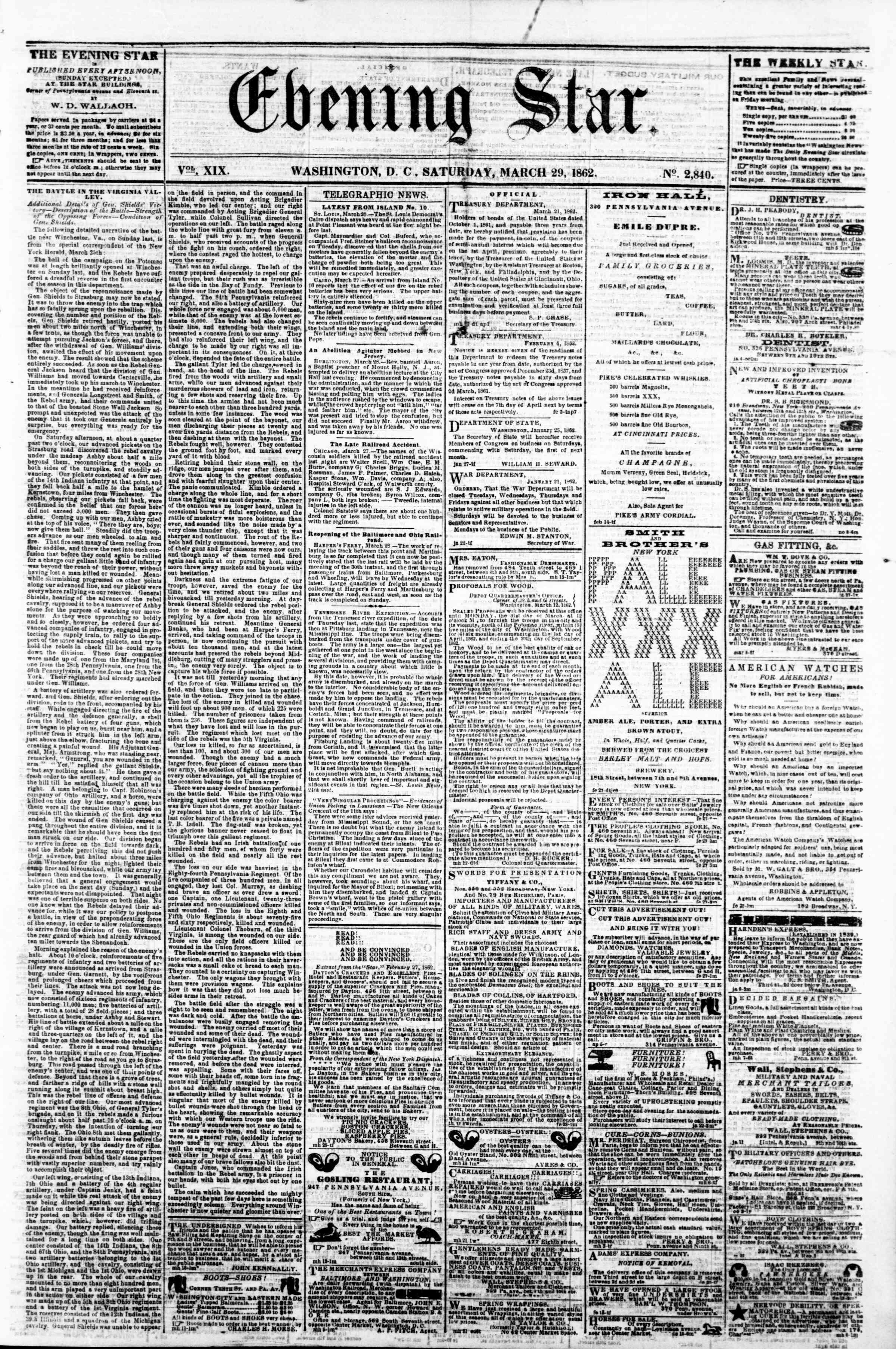 Newspaper of Evening Star dated 29 Mart 1862 Page 1