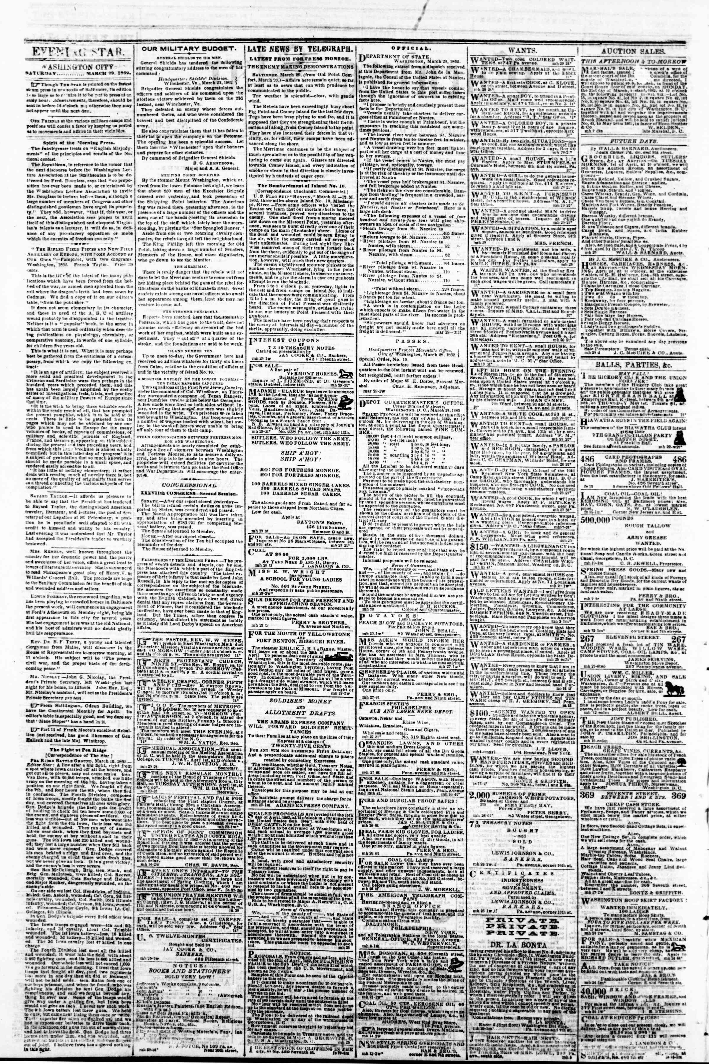 Newspaper of Evening Star dated March 29, 1862 Page 2