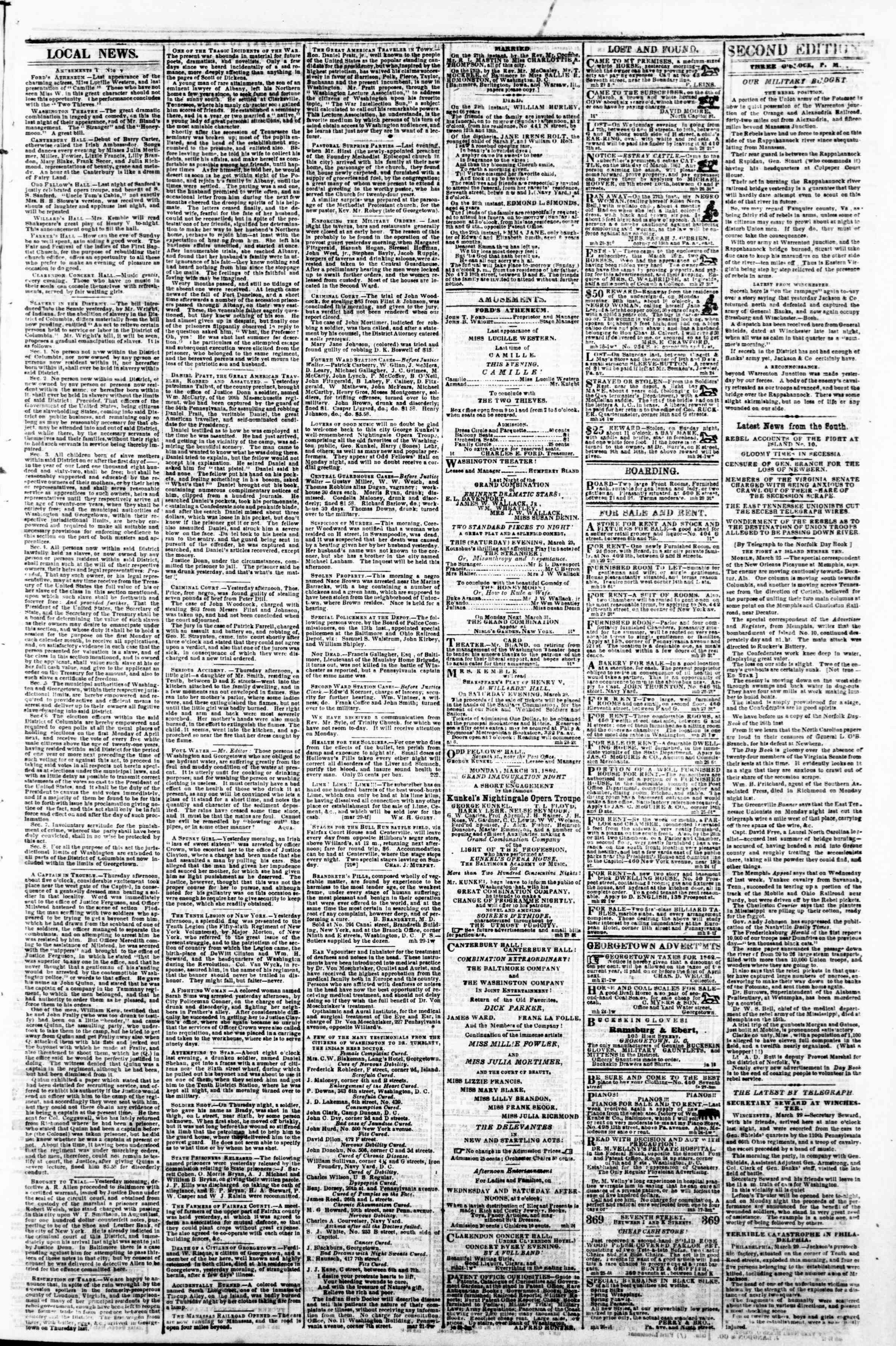 Newspaper of Evening Star dated March 29, 1862 Page 3