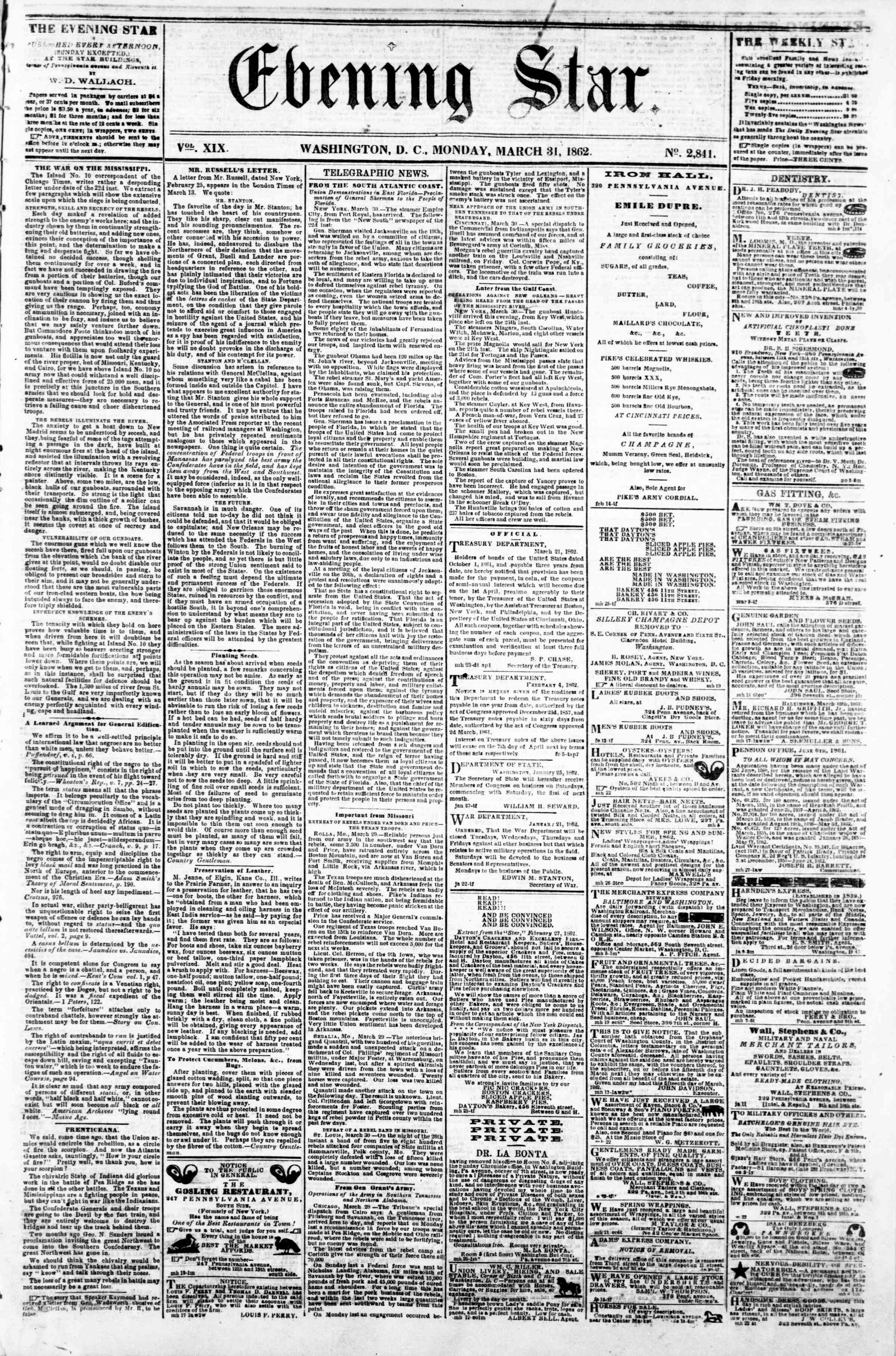 Newspaper of Evening Star dated March 31, 1862 Page 1