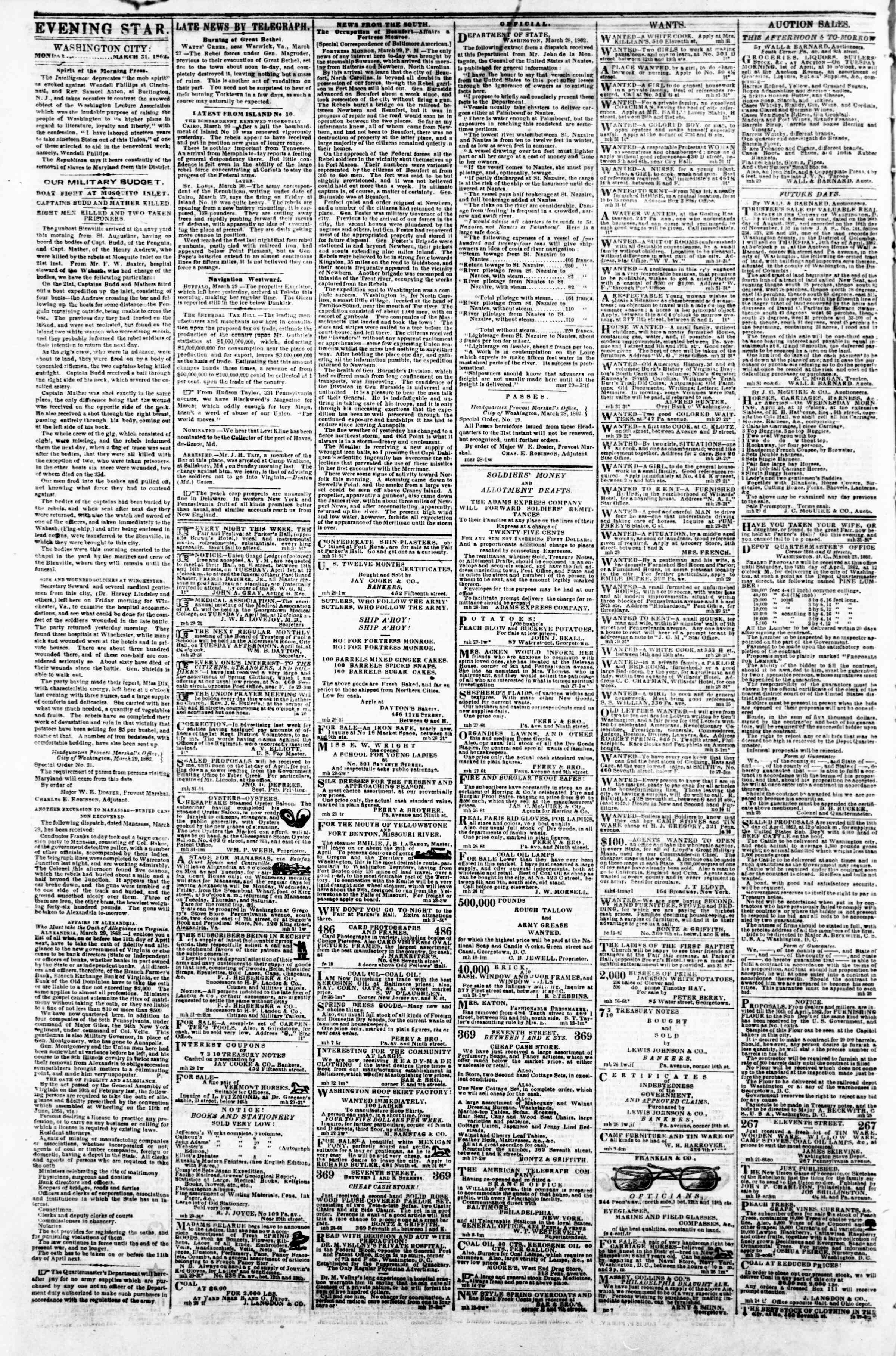 Newspaper of Evening Star dated March 31, 1862 Page 2