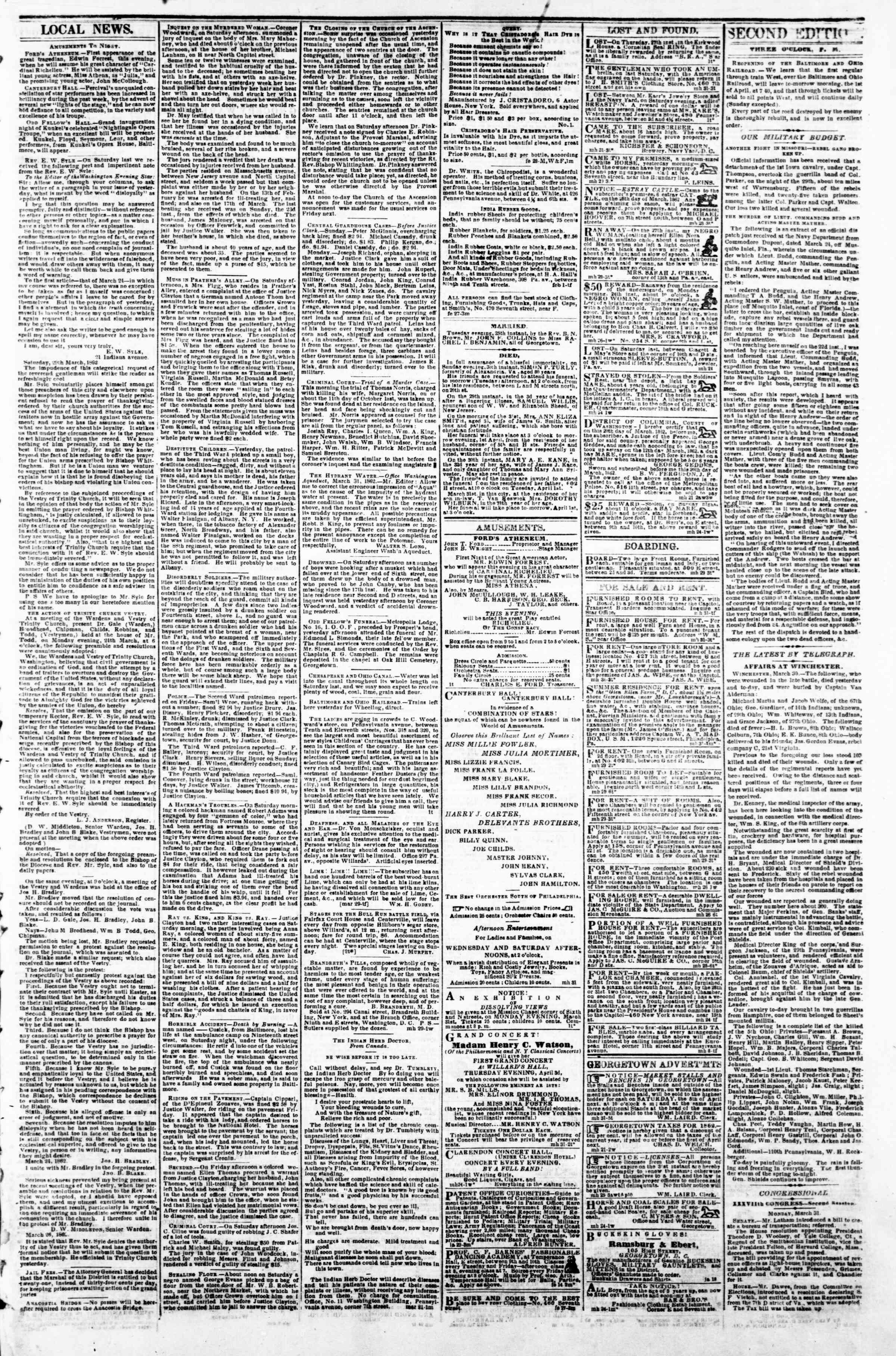 Newspaper of Evening Star dated March 31, 1862 Page 3