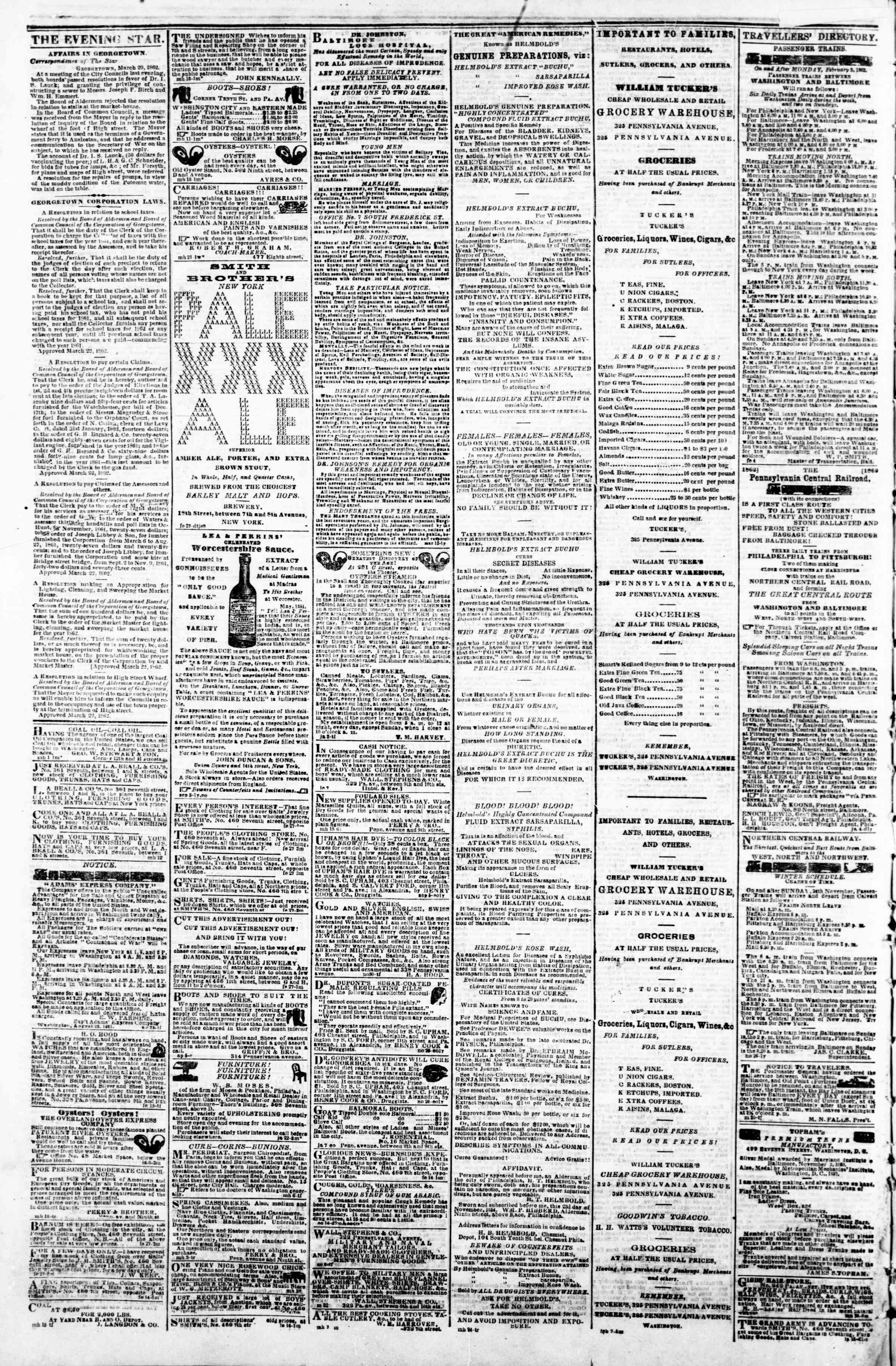 Newspaper of Evening Star dated March 31, 1862 Page 4