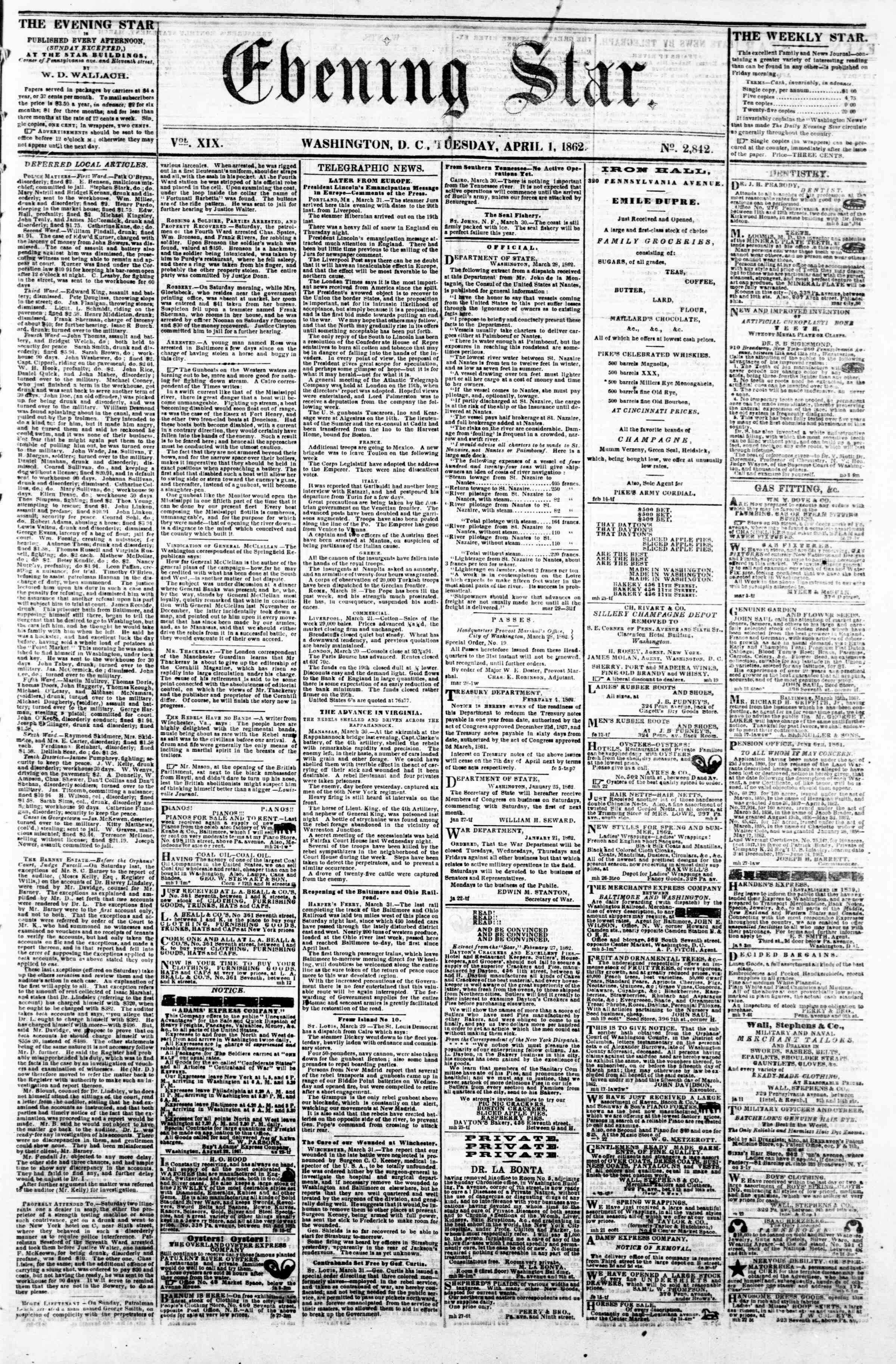 Newspaper of Evening Star dated April 1, 1862 Page 1