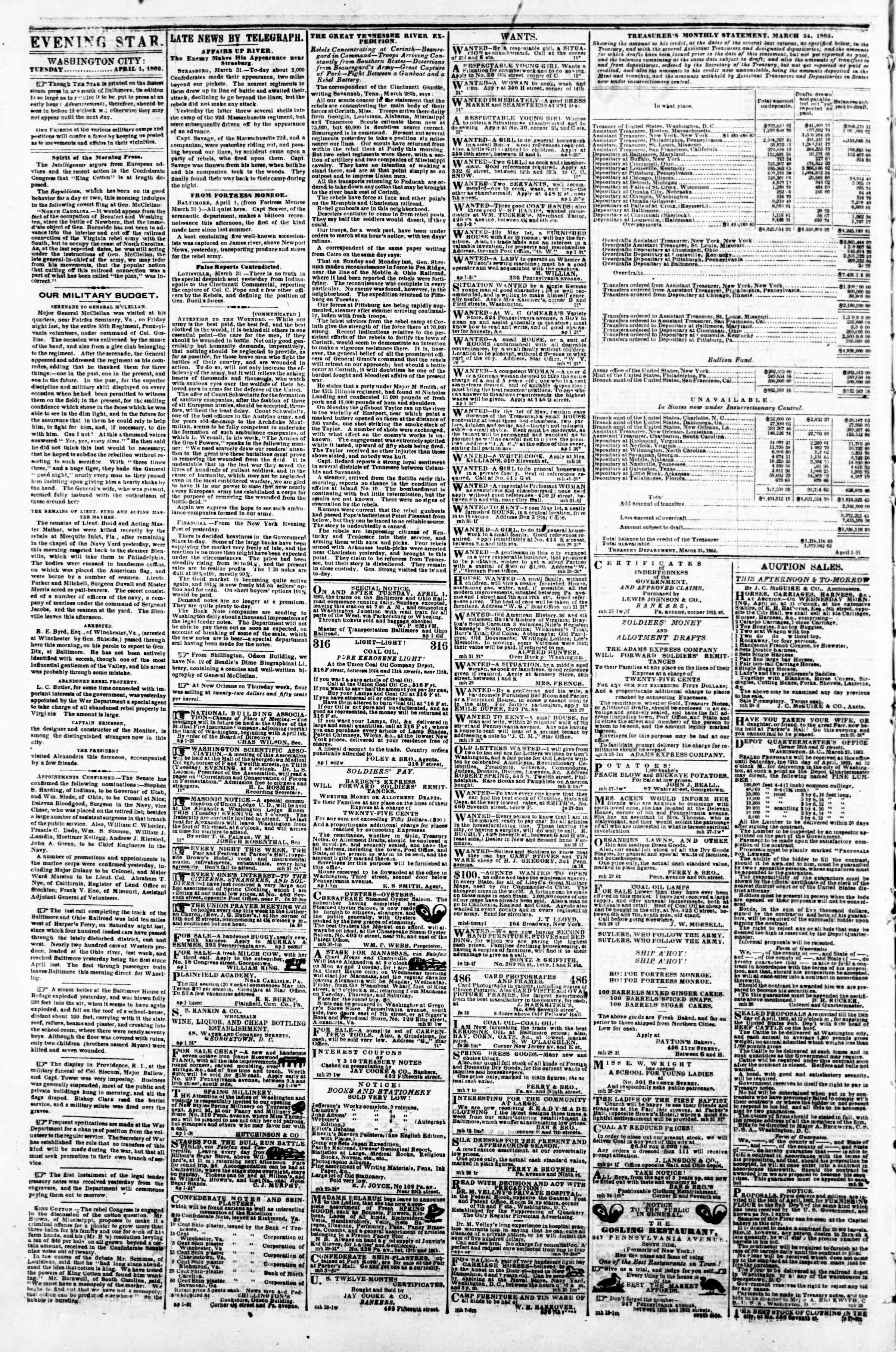 Newspaper of Evening Star dated April 1, 1862 Page 2