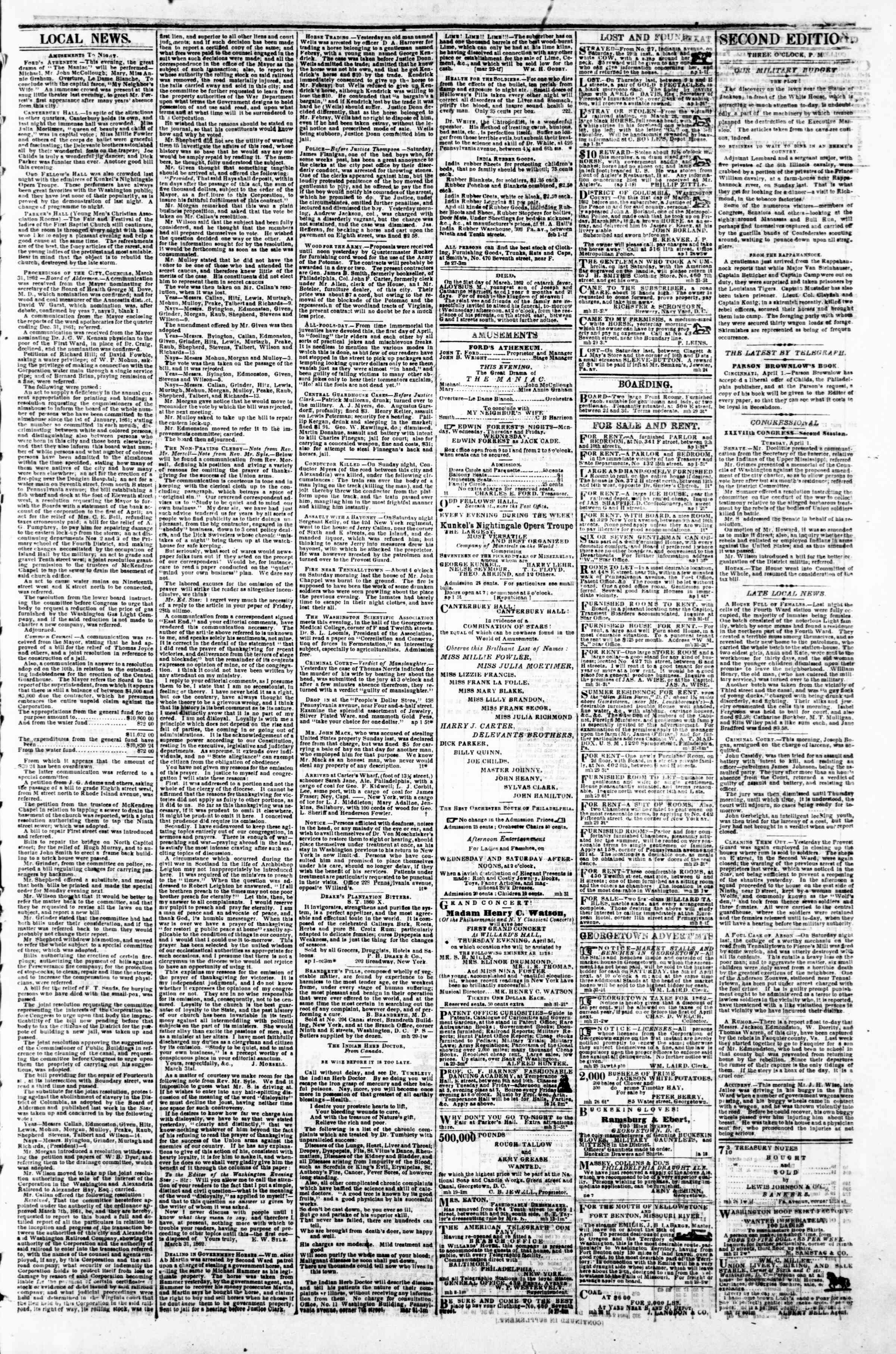 1 Nisan 1862 tarihli Evening Star Gazetesi Sayfa 3