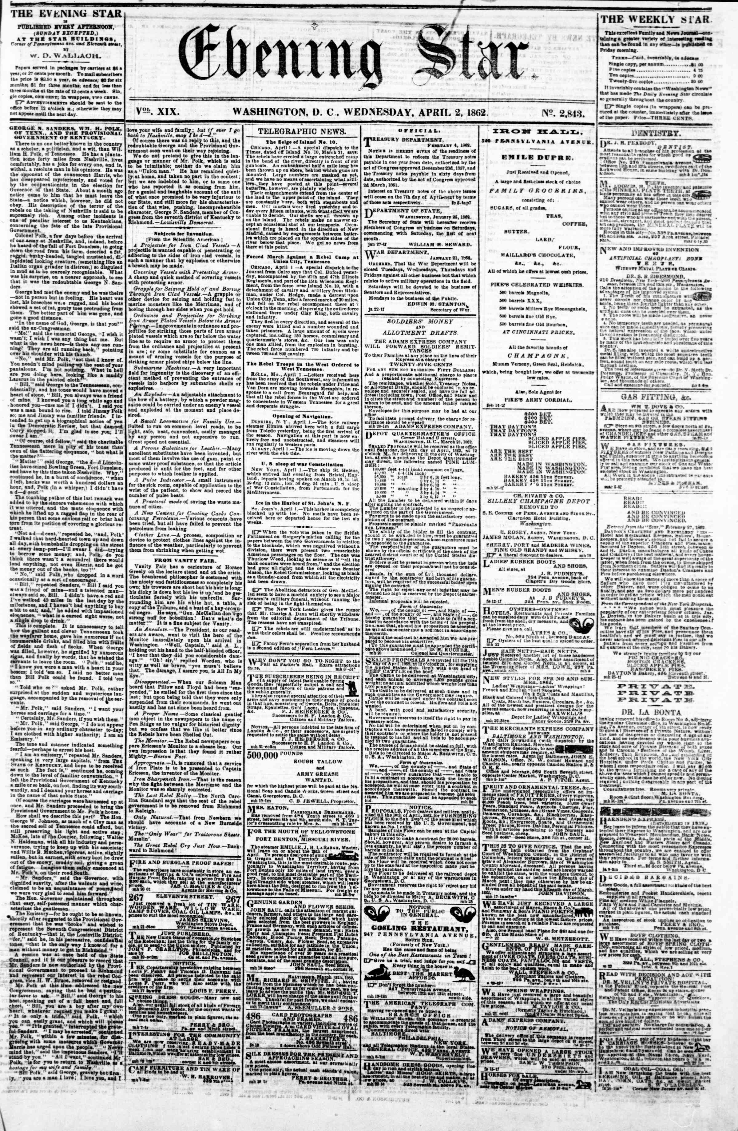 Newspaper of Evening Star dated April 2, 1862 Page 1