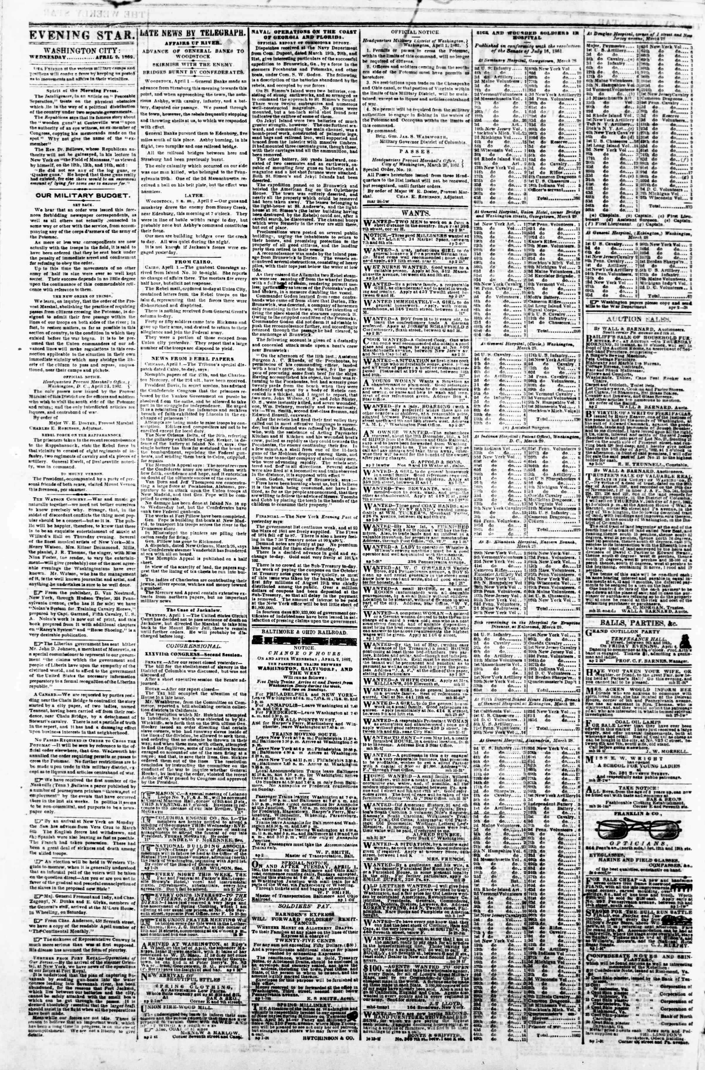 Newspaper of Evening Star dated April 2, 1862 Page 2