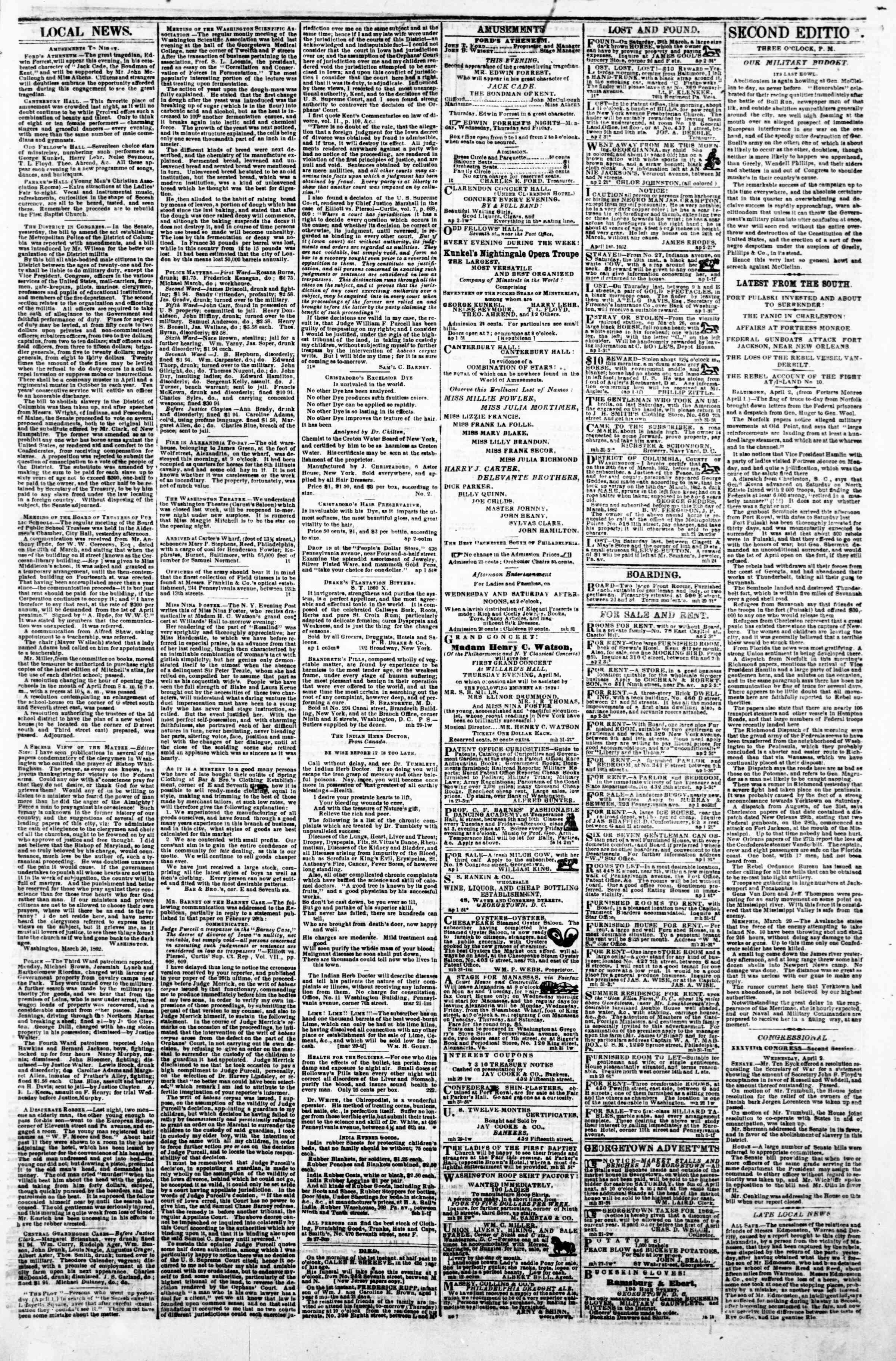 Newspaper of Evening Star dated April 2, 1862 Page 3